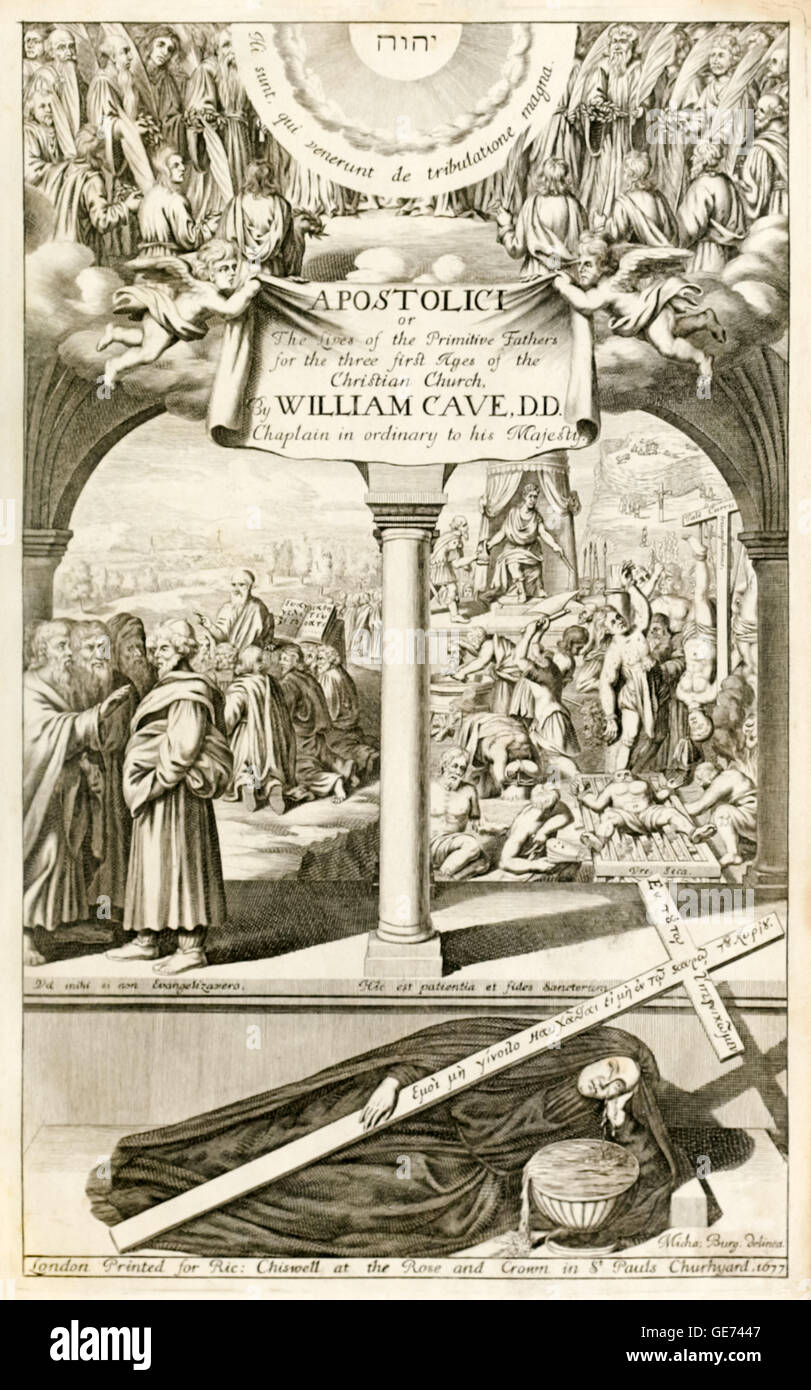 Frontispiece showing the Fathers of the Christian church in heaven (top); an early preacher (left); early martyrs - Stock Image