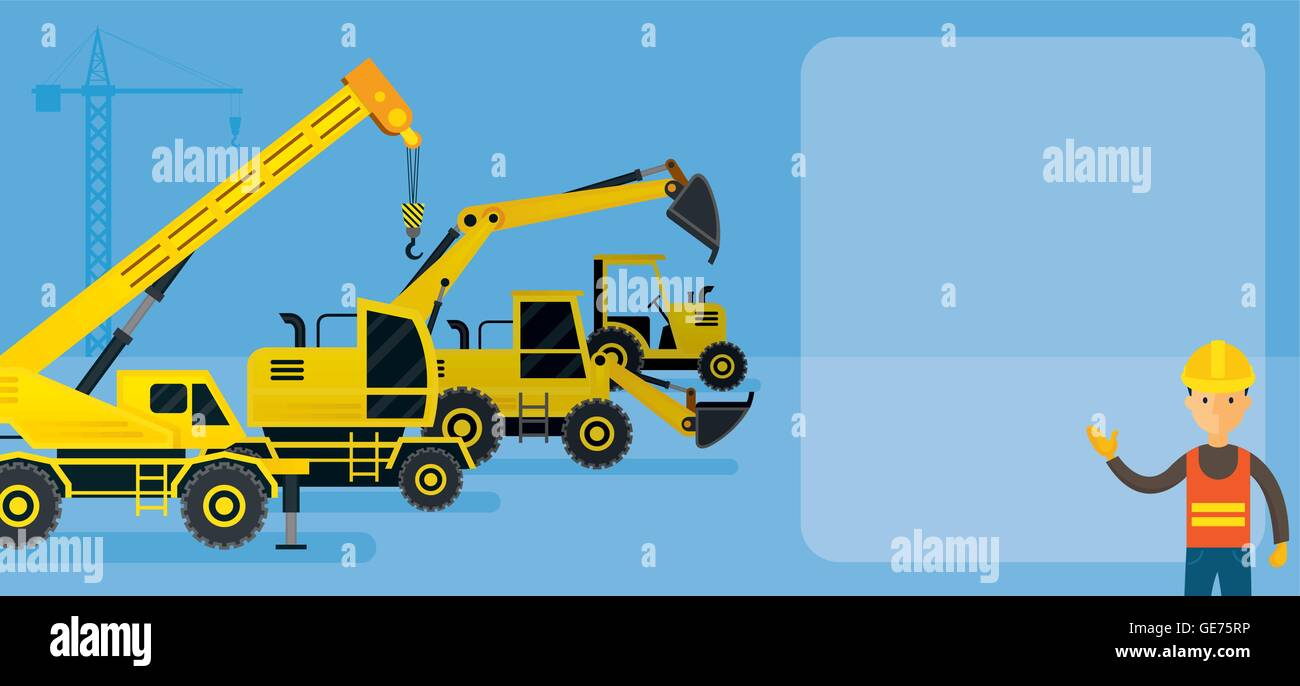 Worker With Construction Vehicles Background Frame Heavy Equipment Machinery Engineering