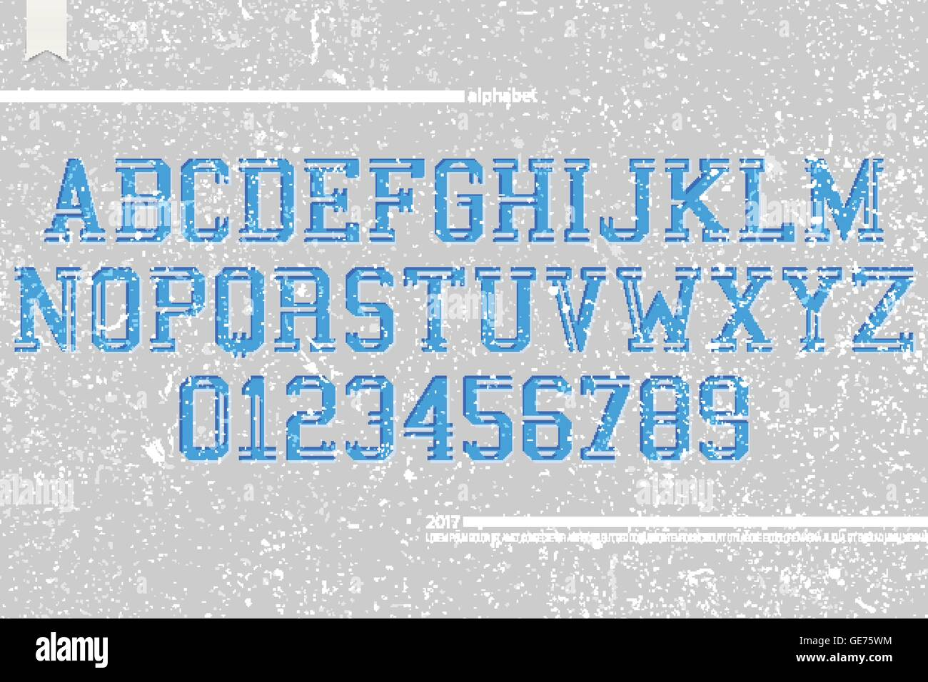 set of university sports style alphabet letters and numbers on grunge paper background. vector, dynamic font type - Stock Vector