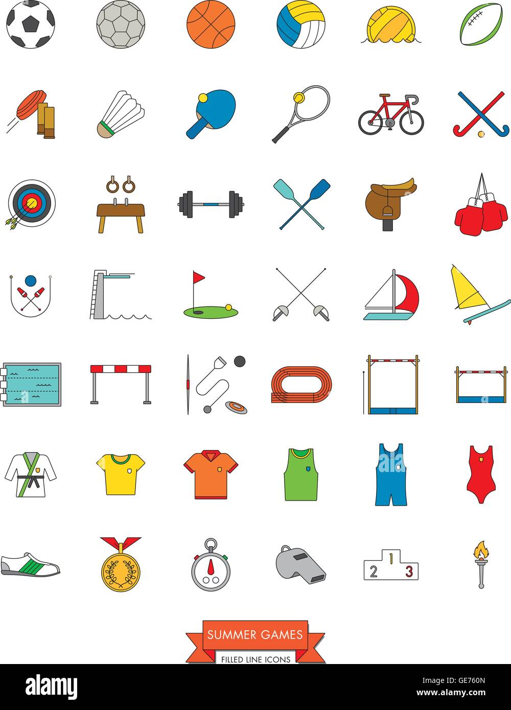 Set of 42 line icons related to Olympic Summer Games Vector - Stock Vector
