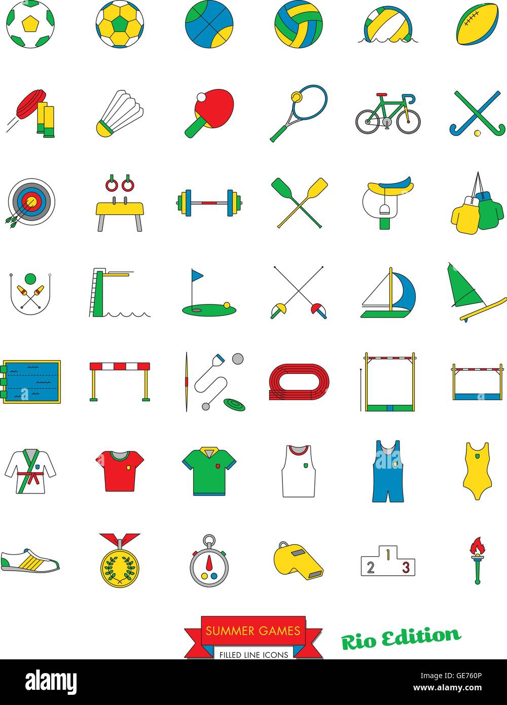 Set of 42 line icons related to Rio Summer Games Vector - Stock Vector