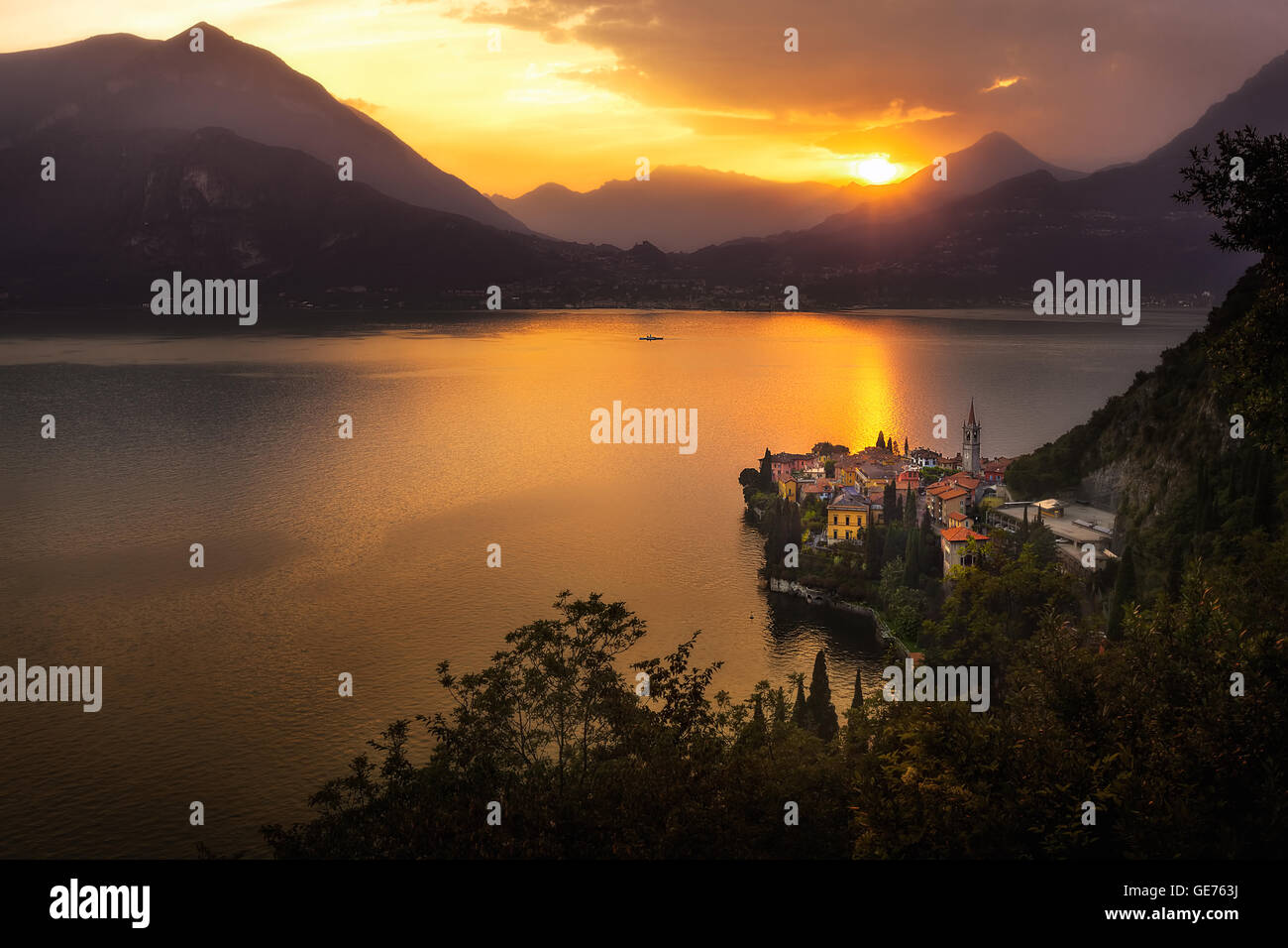 Varenna Panorama View at Sunset - Lake Como, Lombardy, Norther Italy - Stock Image