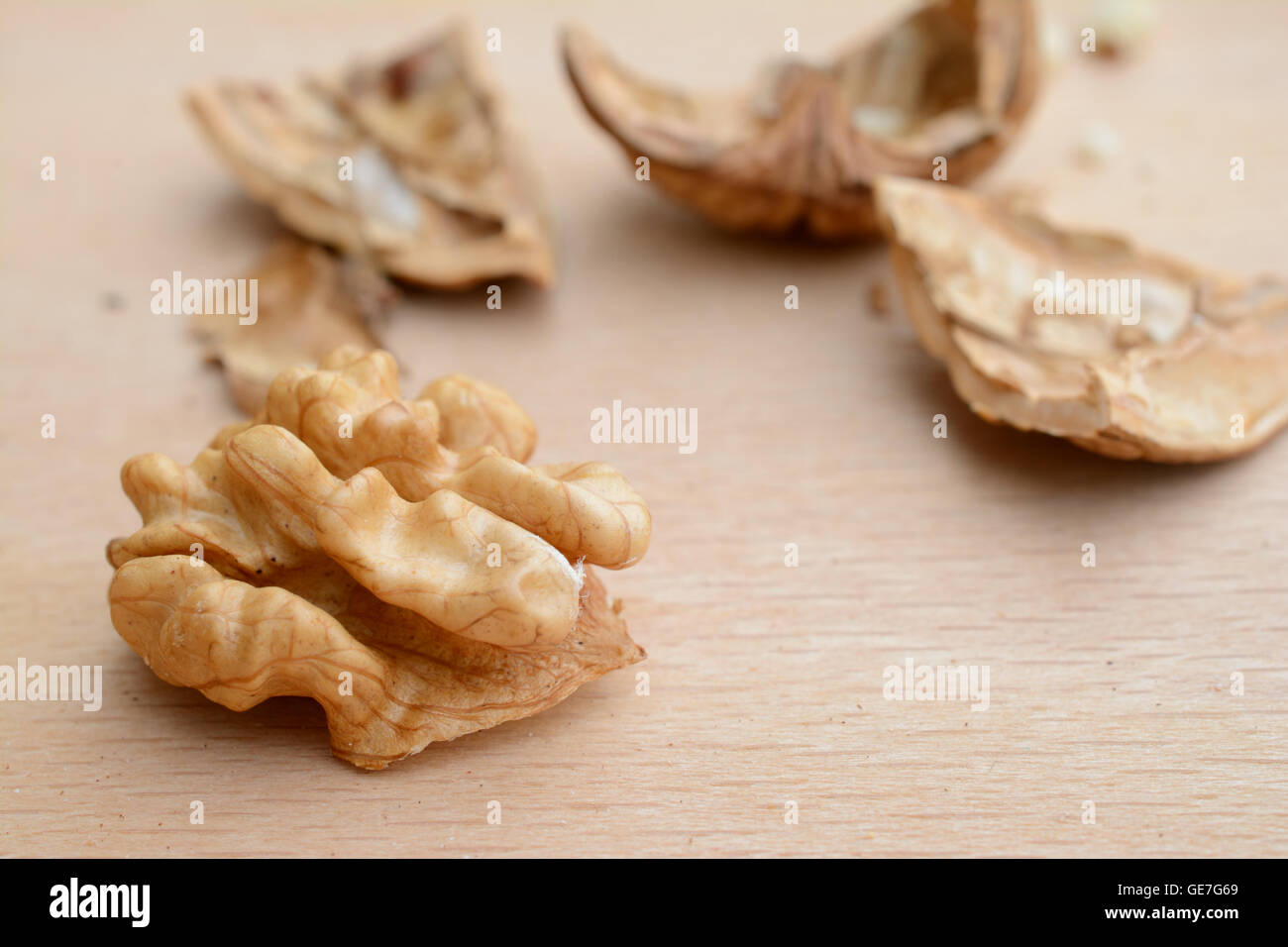 Walnut kernel and cracked nutshell pieces closeup. Shallow depth of field. - Stock Image