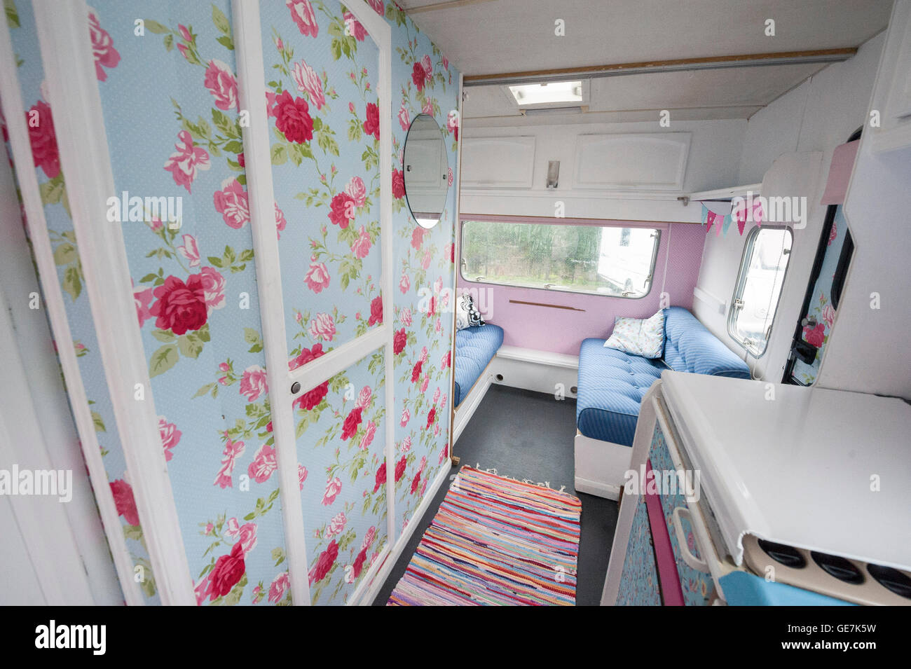 Shabby Chic Old Caravan Renovated With Cath Kidston Interior Design