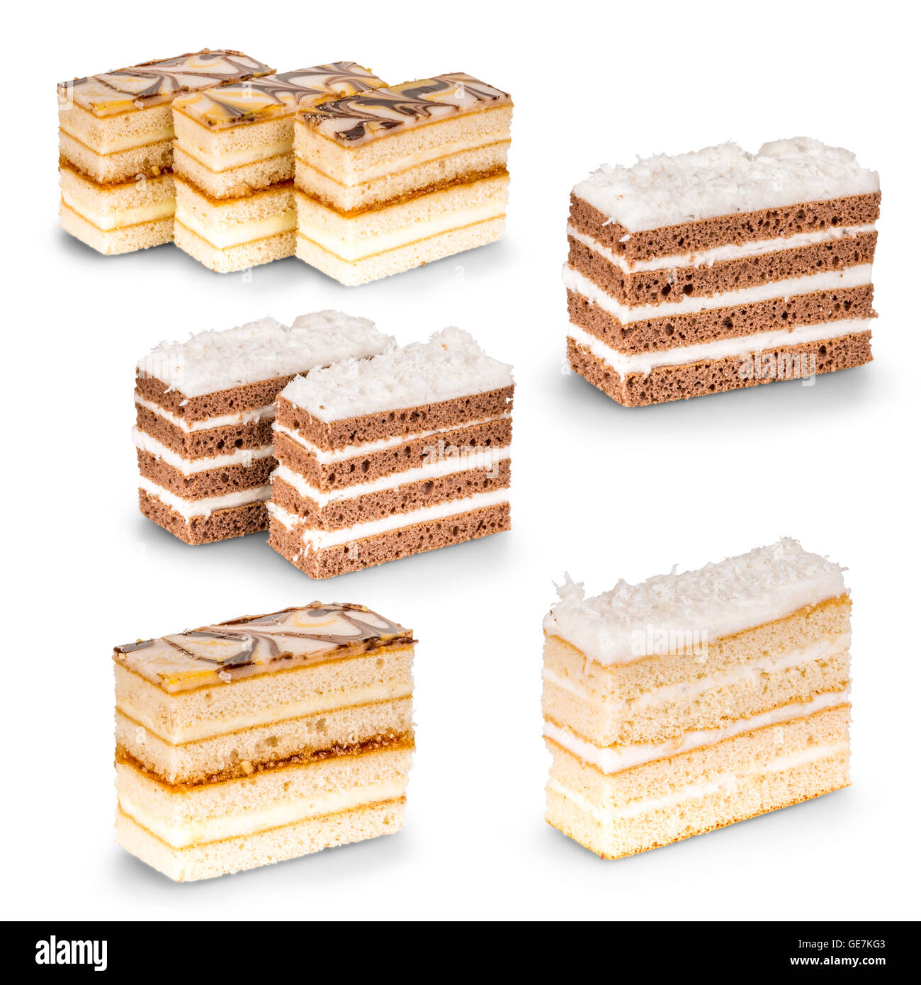 Various cake pieces of chocolate and vanilla filling - Stock Image