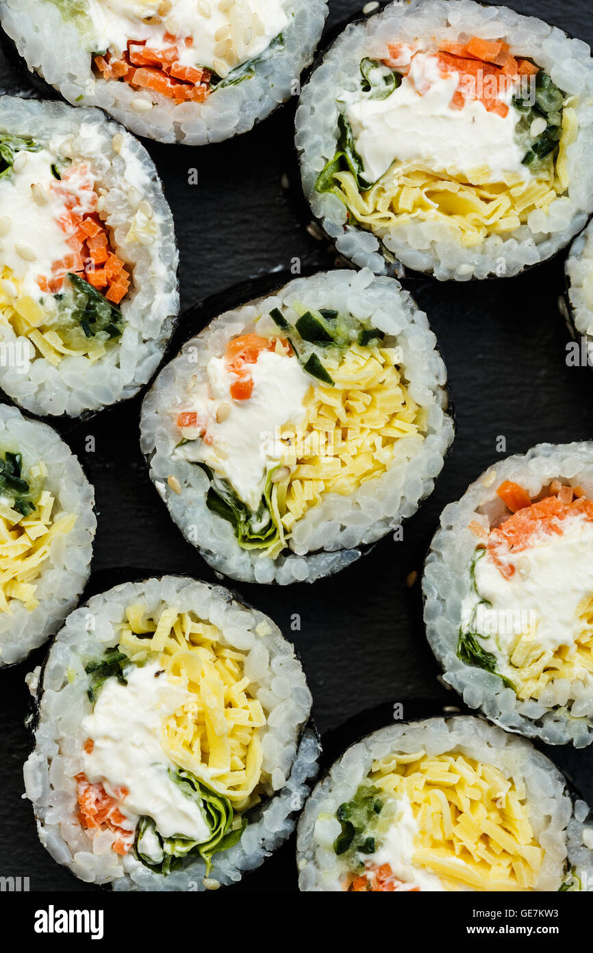Kimbop or kimbap Korean food, rice roll - Stock Image