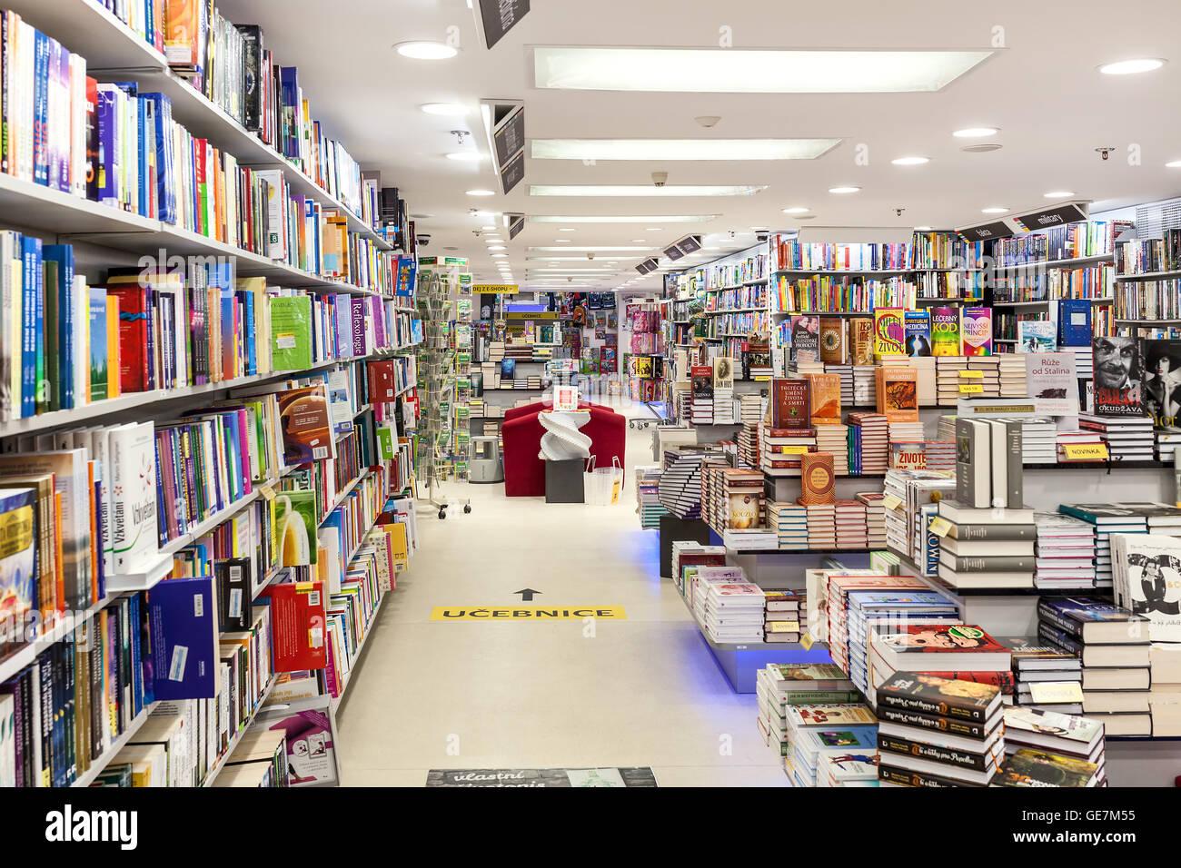 Interior view of Dobrovsky bookstore located on Wenceslas Square in Prague. - Stock Image