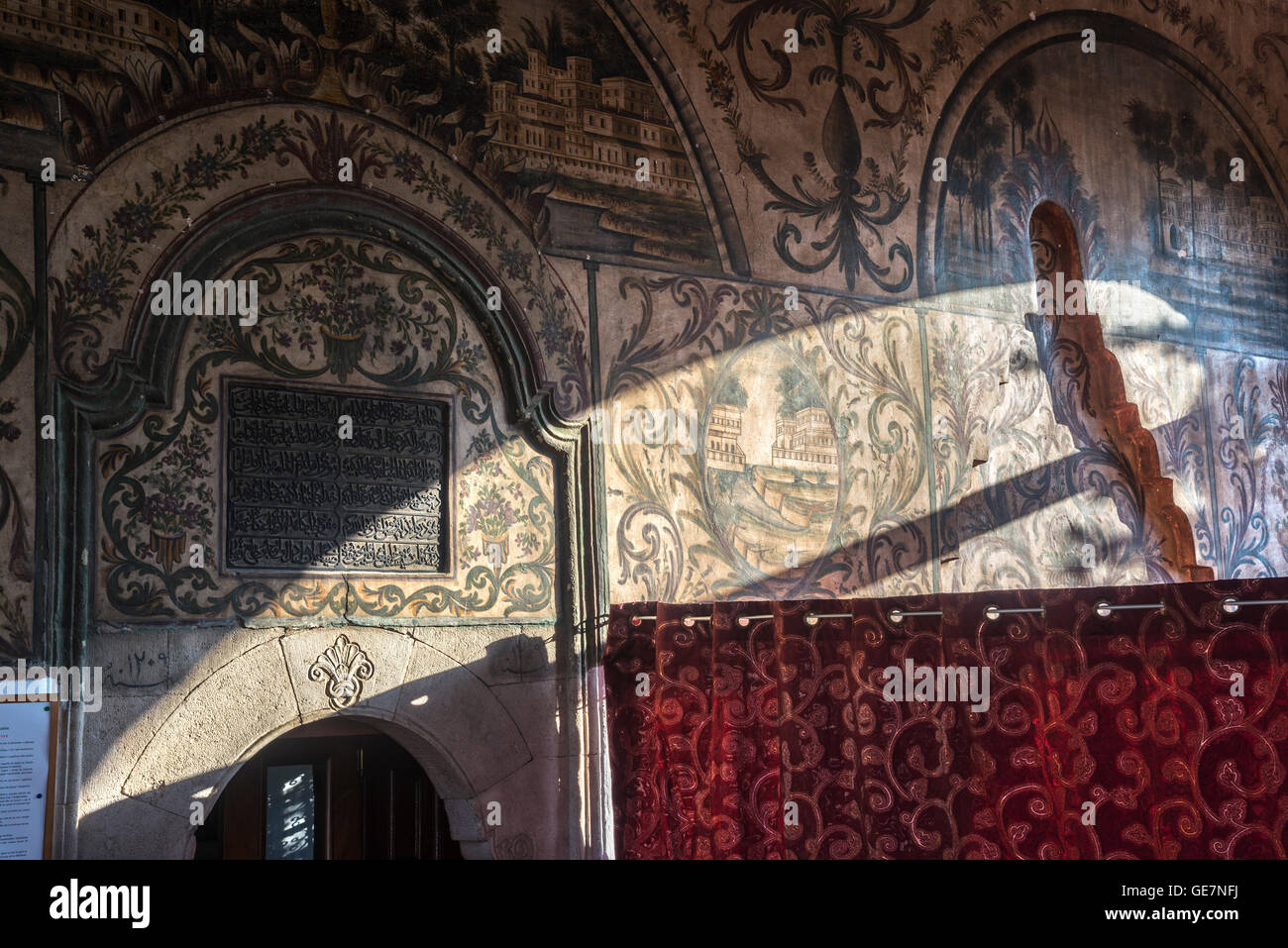 Painted decoration on the Interior of the Et'hem Bey Mosque on Skanderbeg Square, Tirana, Albania, - Stock Image
