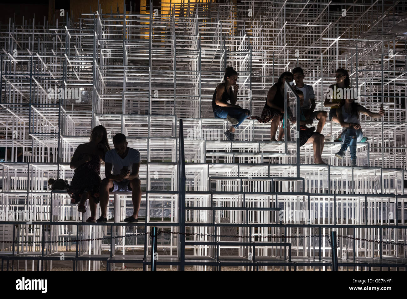 The Cloud Pavilion art installation designed by Architect Sou Fujimoto, on the edge of Skanderbeg Square, Tirana, Stock Photo