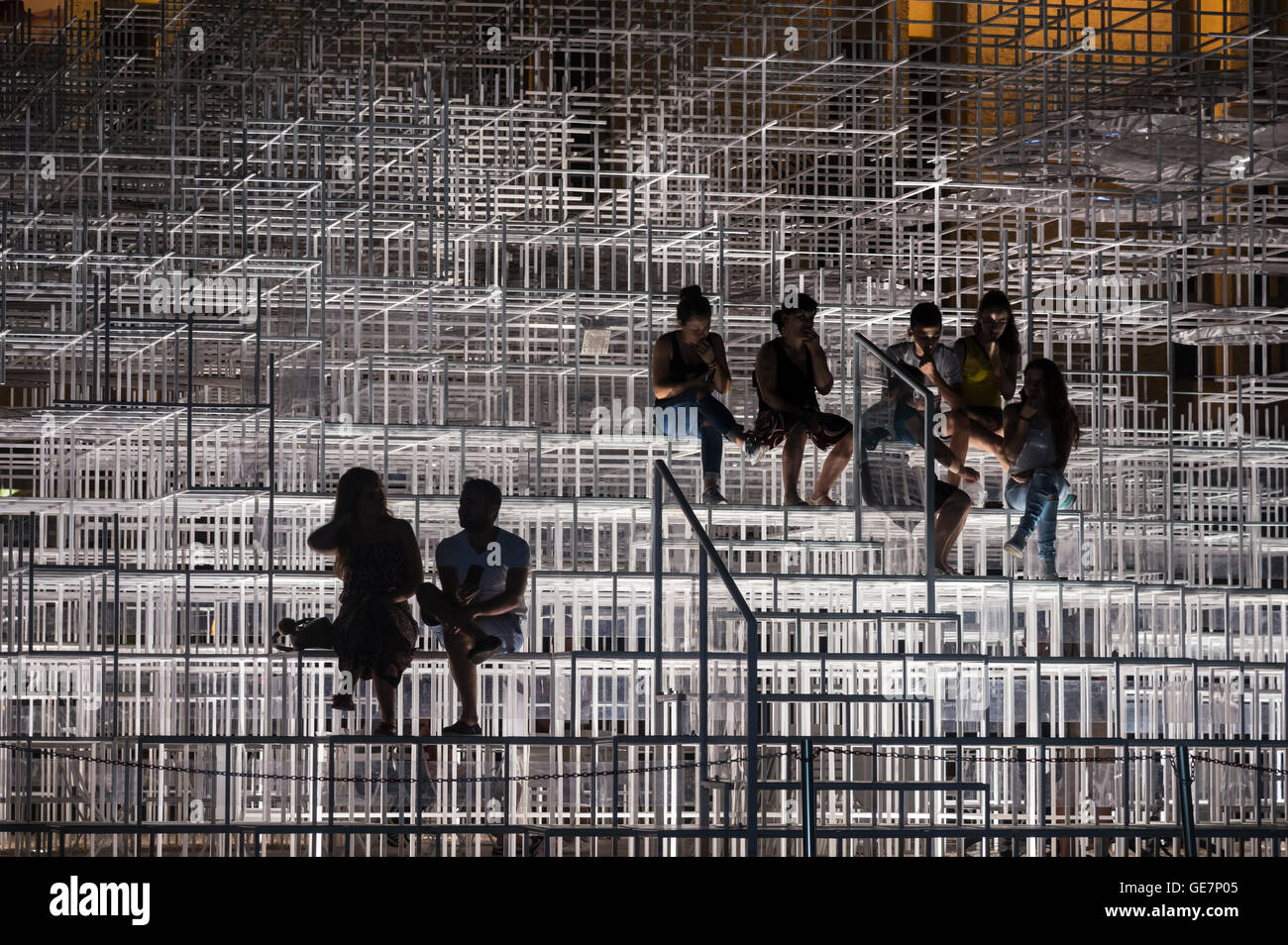 The Cloud Pavilion art installation designed by Architect Sou Fujimoto, on the edge of Skanderbeg Square, Tirana, - Stock Image