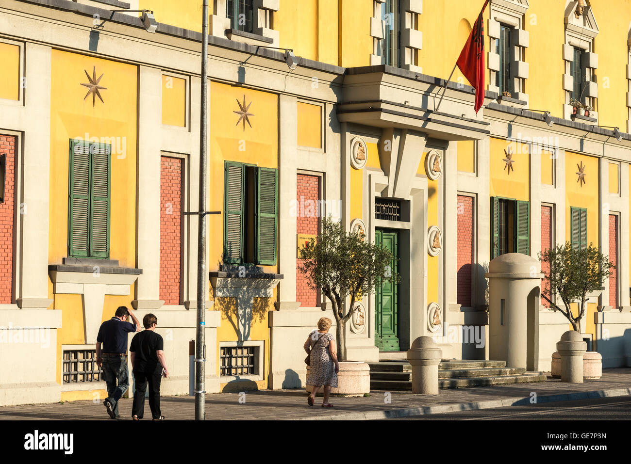 Government ministry buildings on Skanderbeg Square, Tirana, Albania, - Stock Image