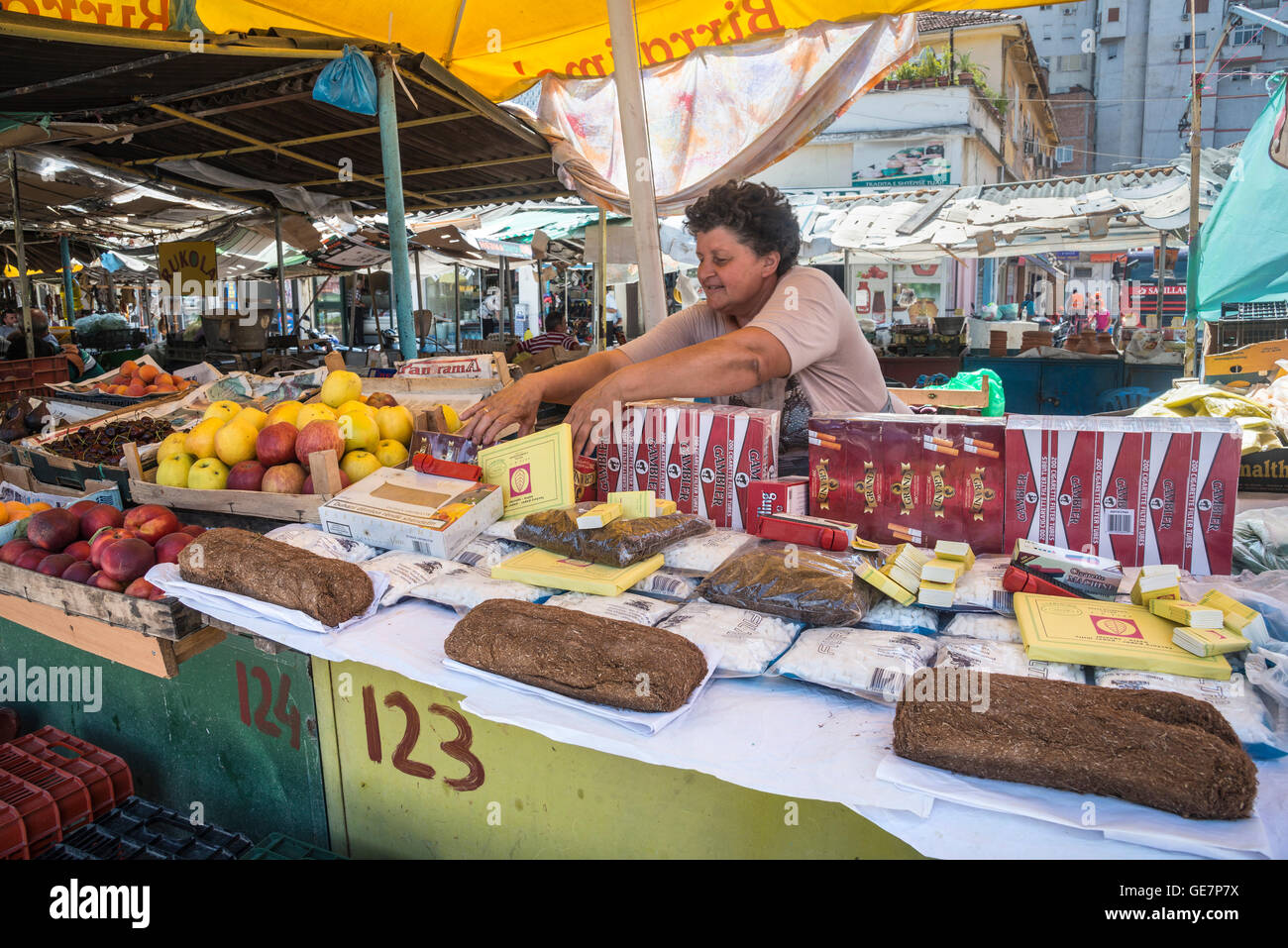 Stall selling tobacco and related products in the Pazari i Ri, central market, in Tirana, Albania, - Stock Image