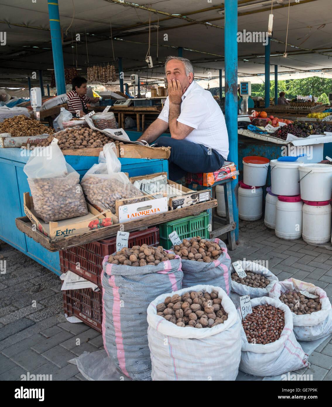 Stall selling nuts in the Pazari i Ri, central market, in Tirana, Albania, - Stock Image