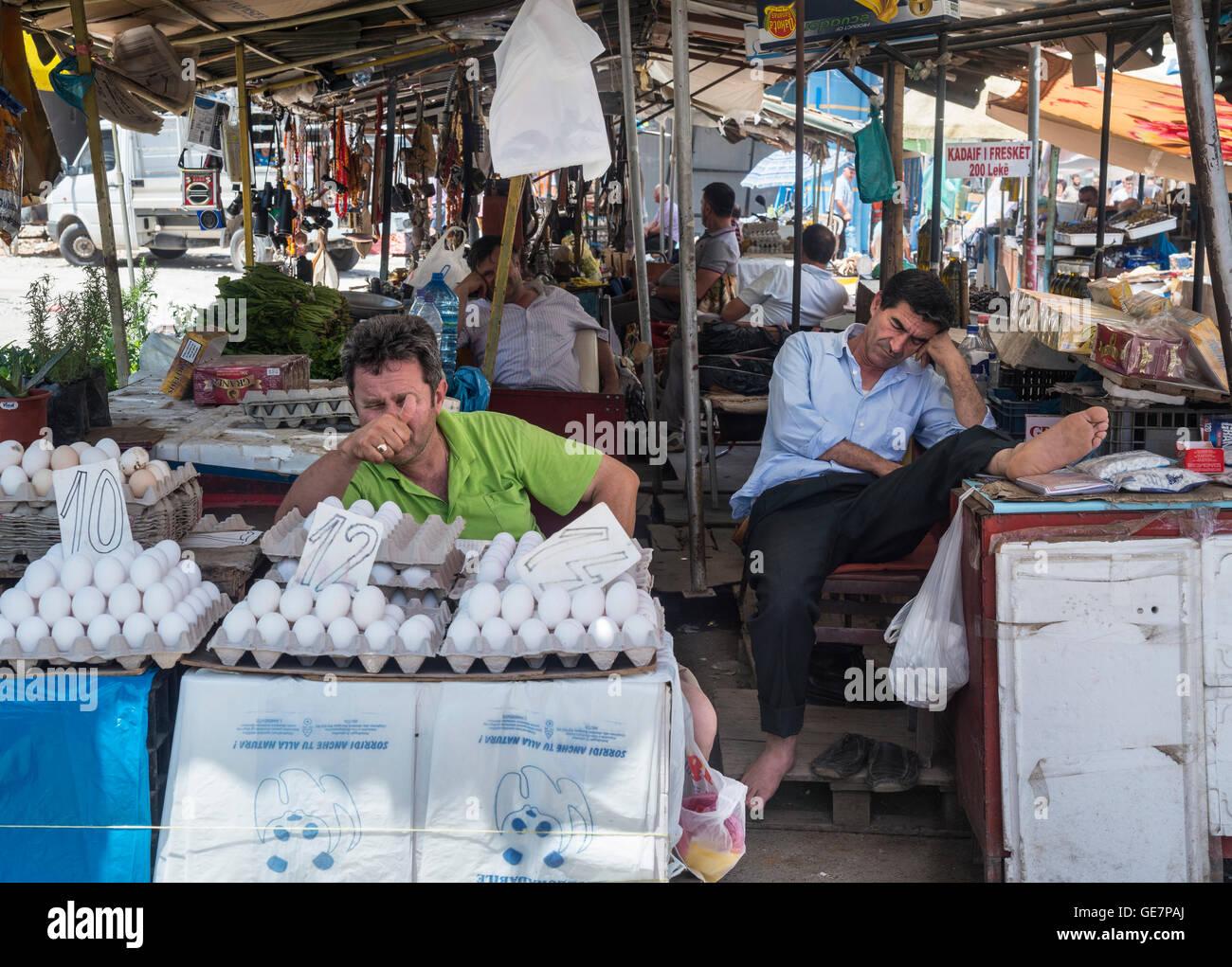 Market stalls in the Pazari i Ri, central market, in Tirana, Albania, - Stock Image