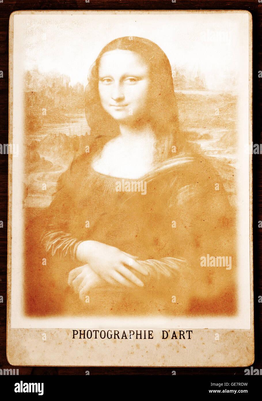 imitation of a cabinet photograph with a composite of famous Mona Lisa by Leonardo da Vinci - Stock Image
