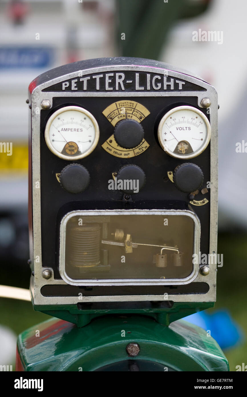 Petter LIght amps and voltage reader on a steam engine - Stock Image
