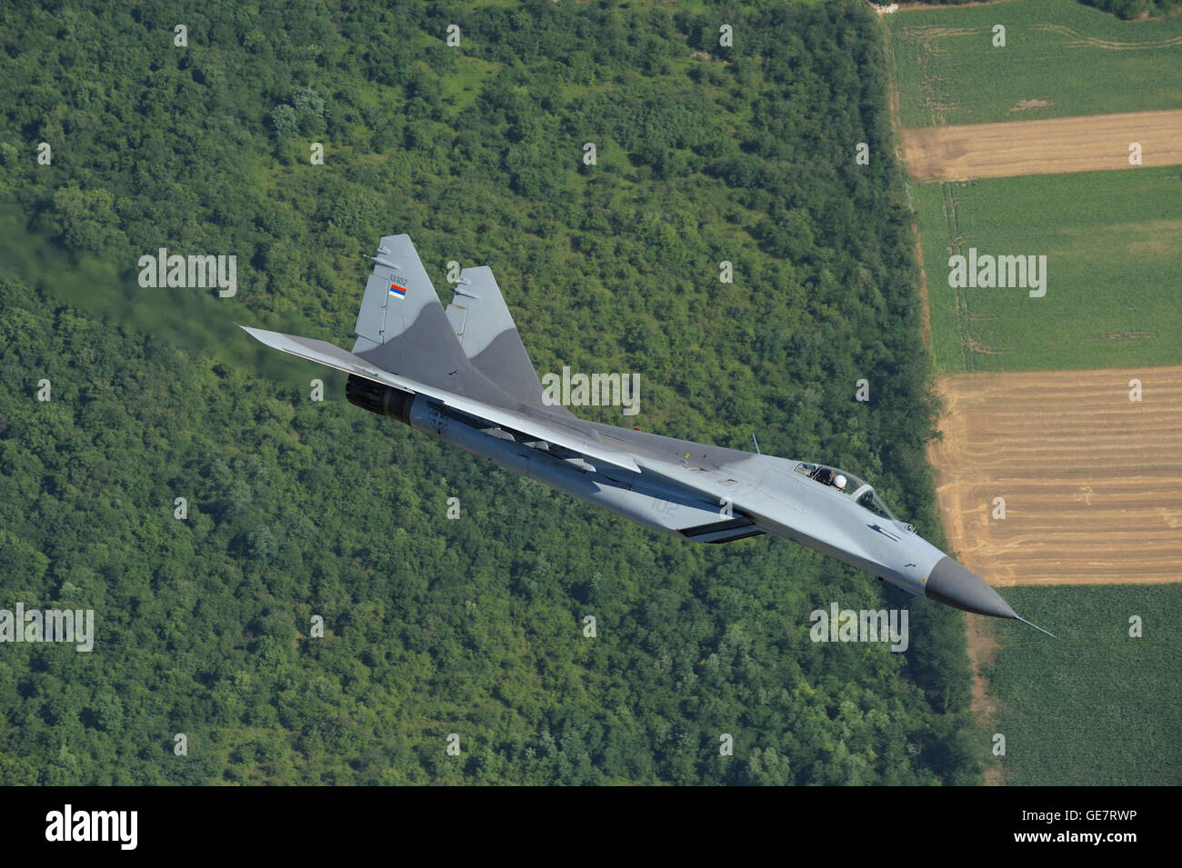 Serbian Air Force Mikoyan-Gurevich MiG-29 (NATO code: Fulcrum) multi-role fighter jet interceptor aircraft in flight Stock Photo