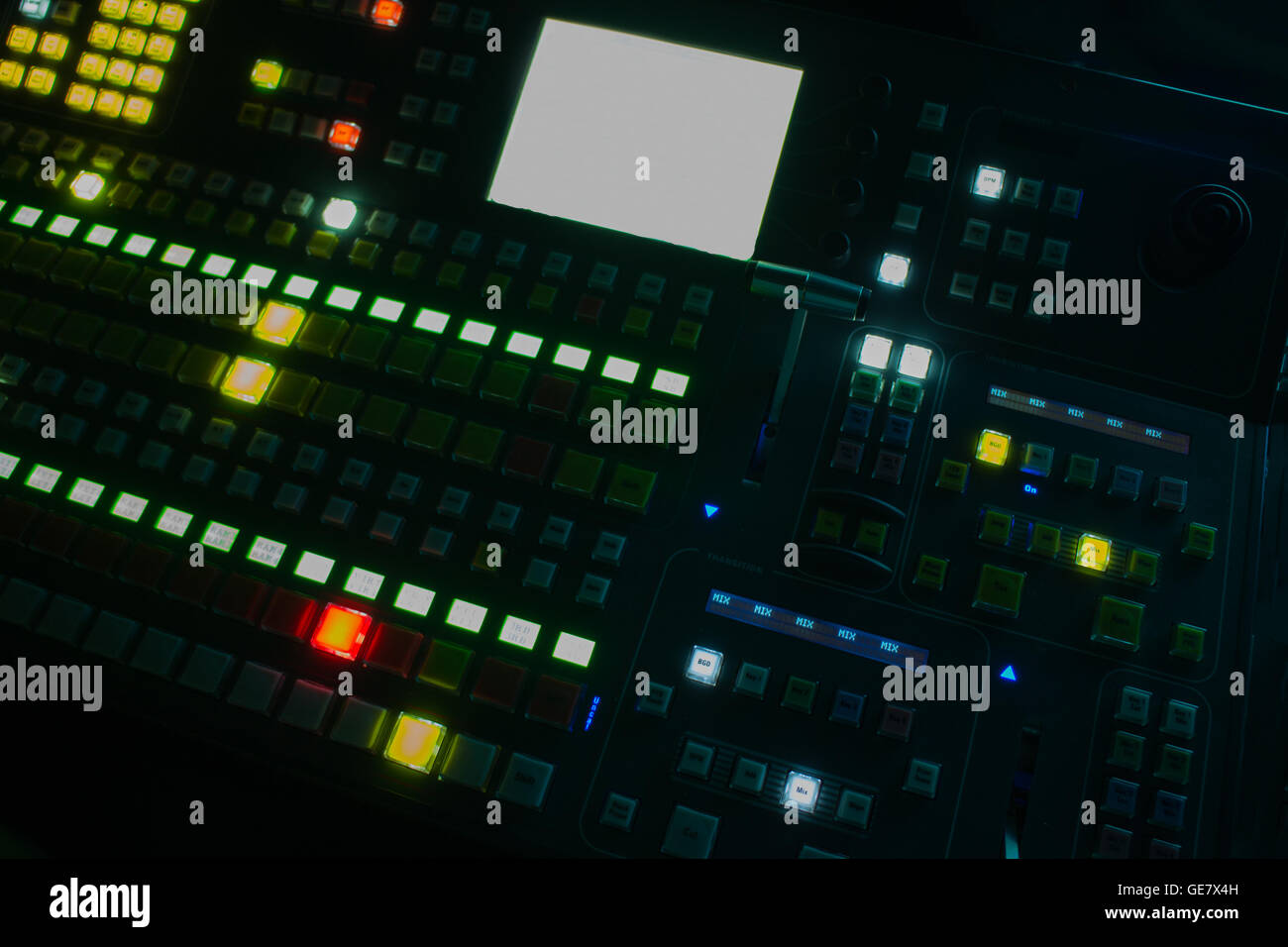 Wide shot of vision mixing panel in a television gallery. - Stock Image