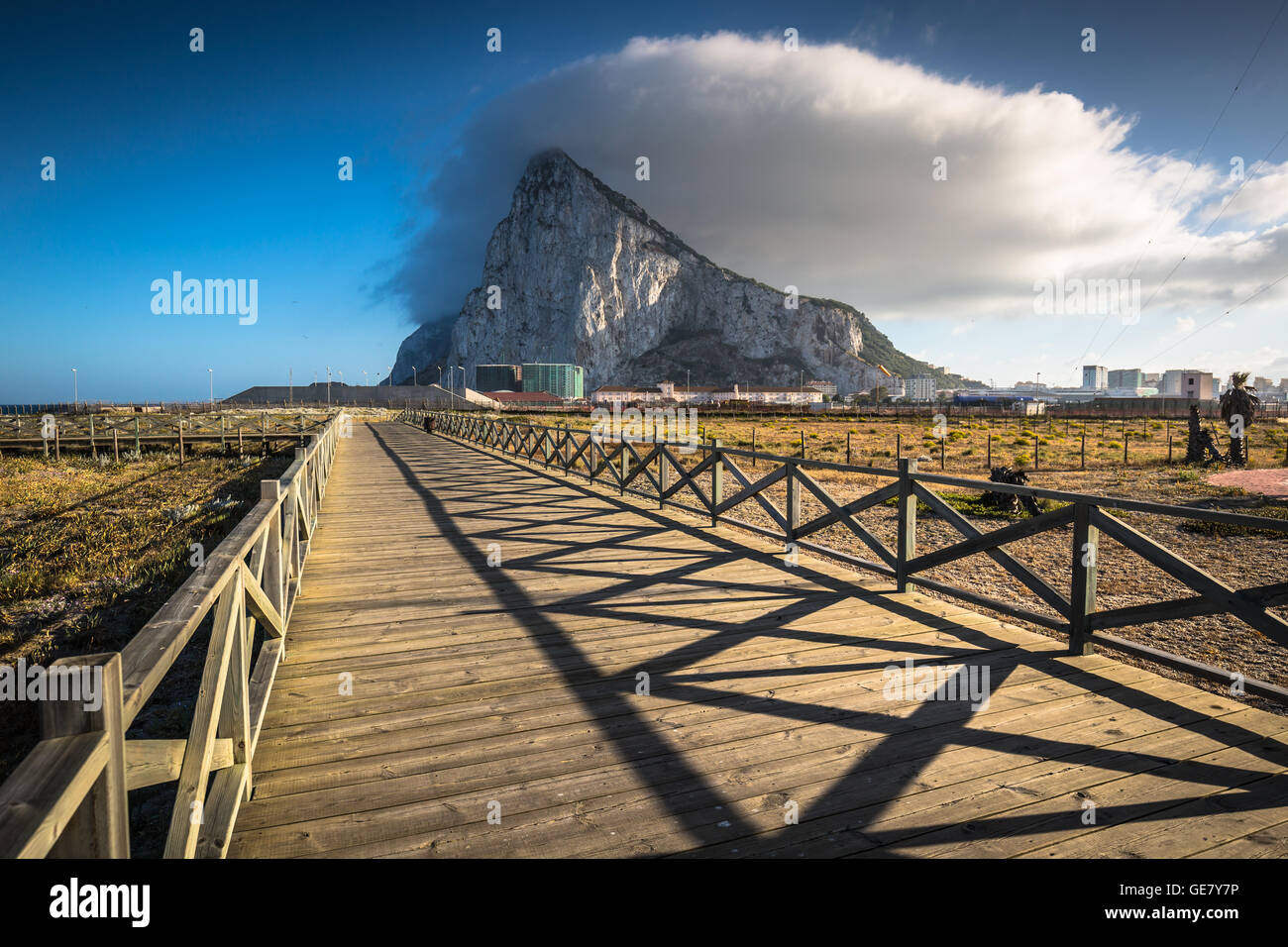 The Rock of Gibraltar from the beach of La Linea, Spain Stock Photo