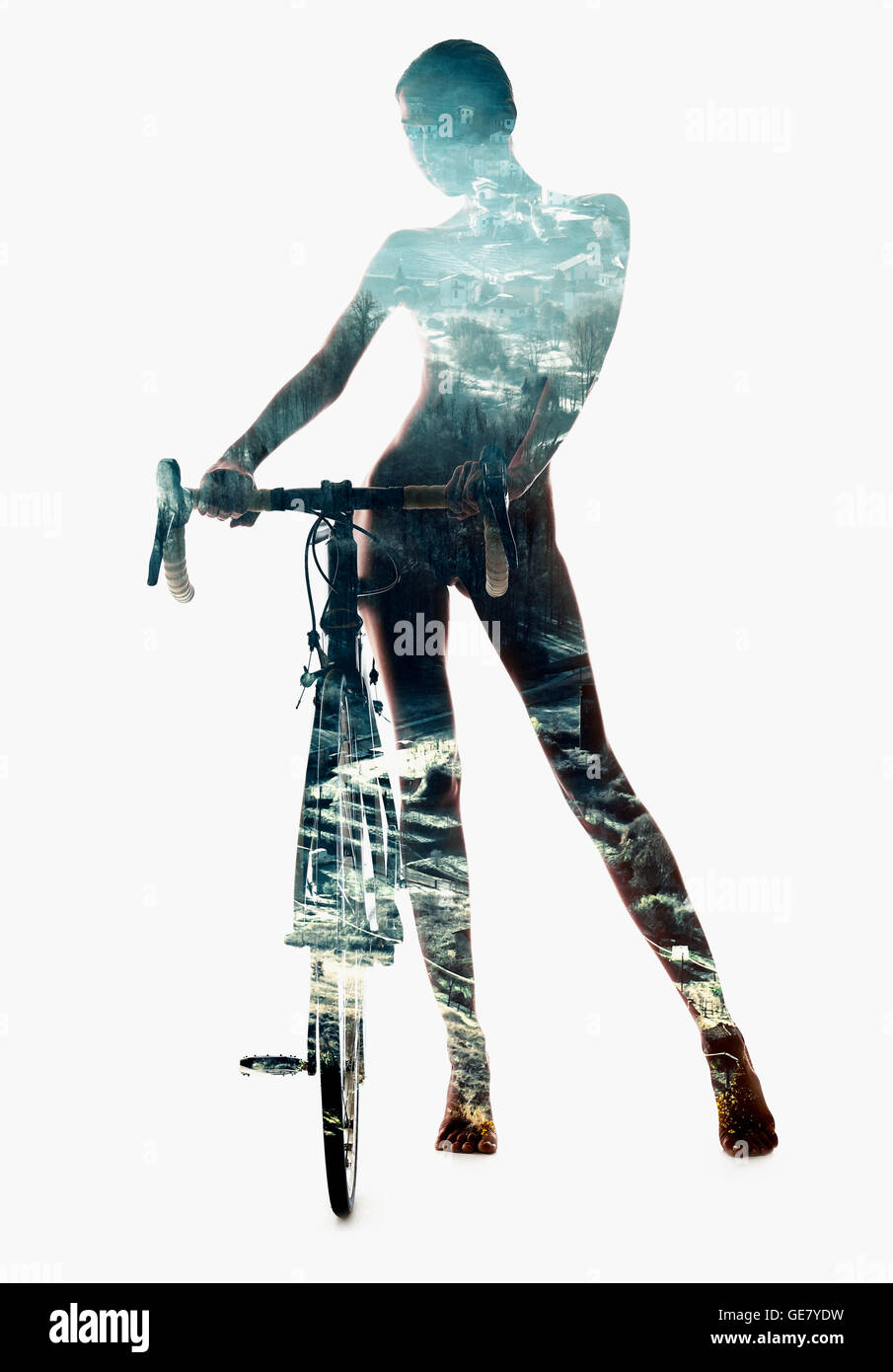Silhouette of a woman with bicycle - Stock Image
