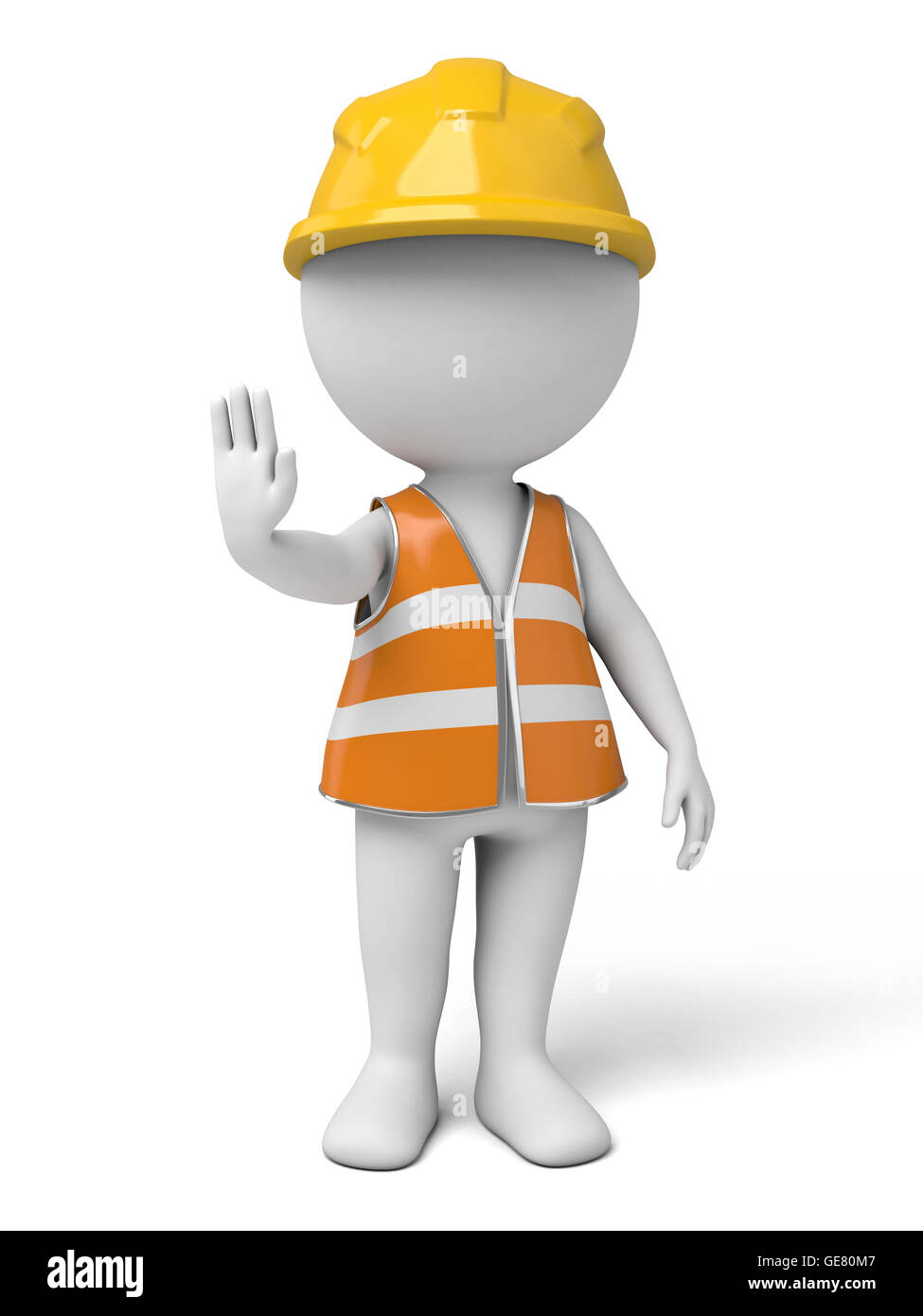 The 3d guy is a traffic management assistant - Stock Image