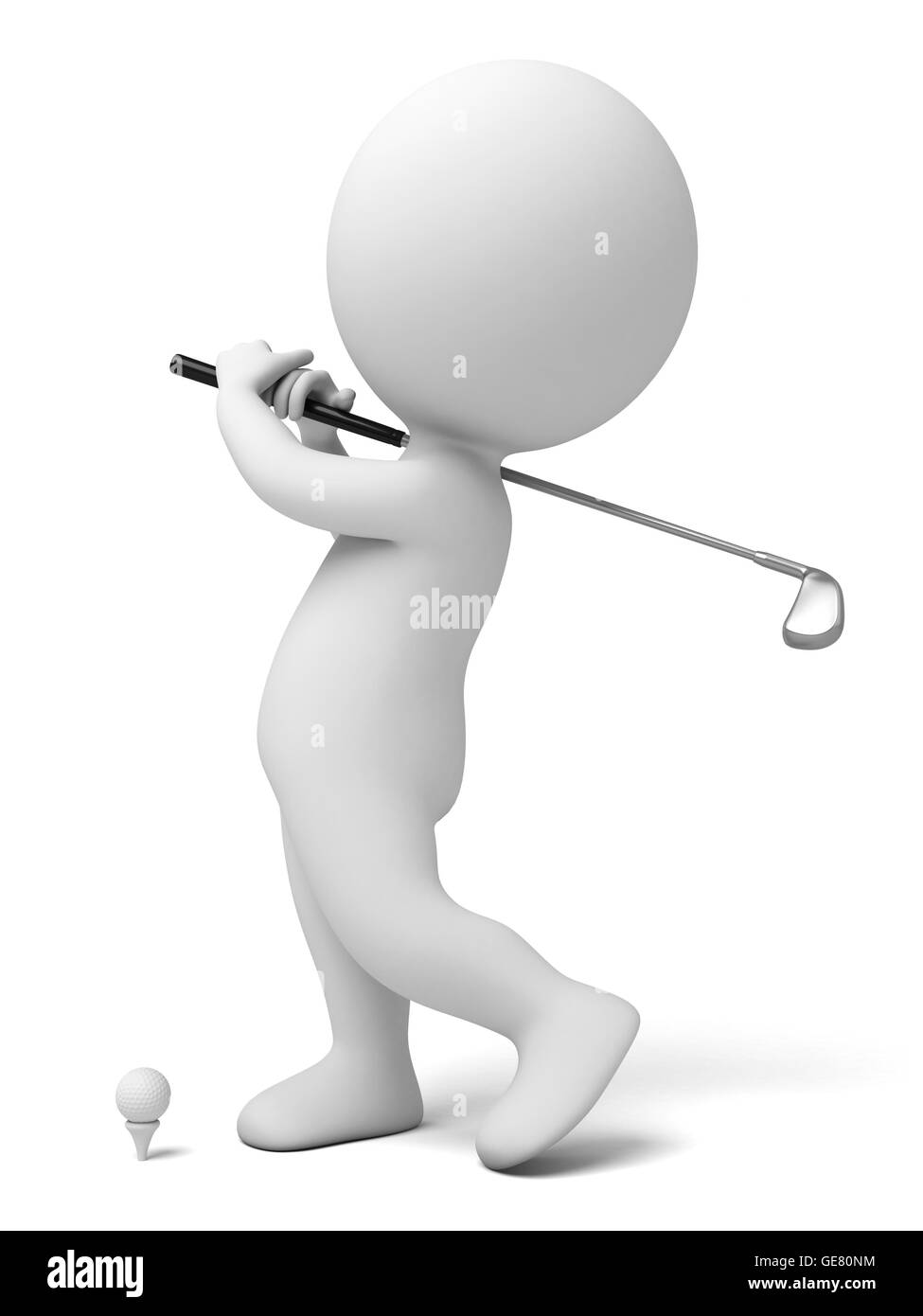 The 3d guy is playing golf - Stock Image