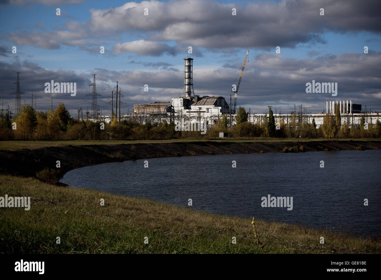 Chernobyl reactor #4 inside the exclusion zone, Ukraine. - Stock Image