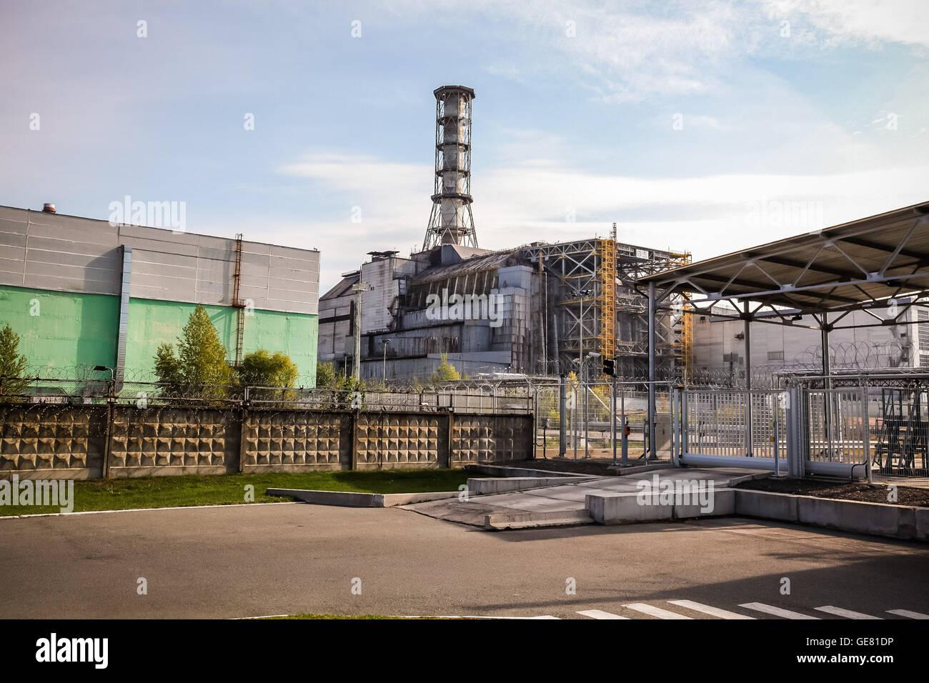 Chernobyl reactor #4 inside the exclusion zone, Ukraine. - Stock Image