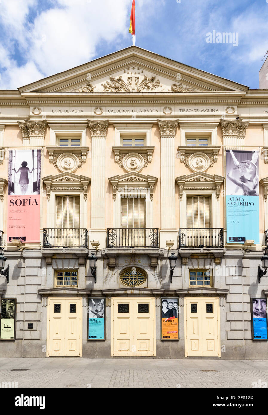 Facade of the neoclassical Espanol Theatre in Plaza Ana, Madrid, Spain - Stock Image