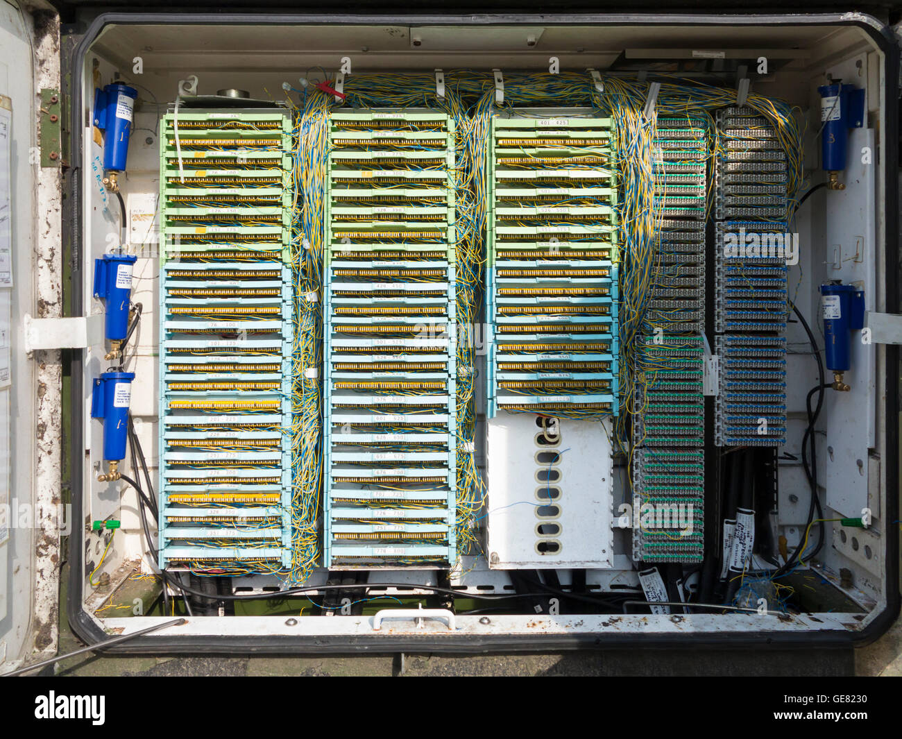 Inside Phone Box Stock Photos Images Alamy Bt Connection Wiring Telecommunication Wires Street Junction England Image