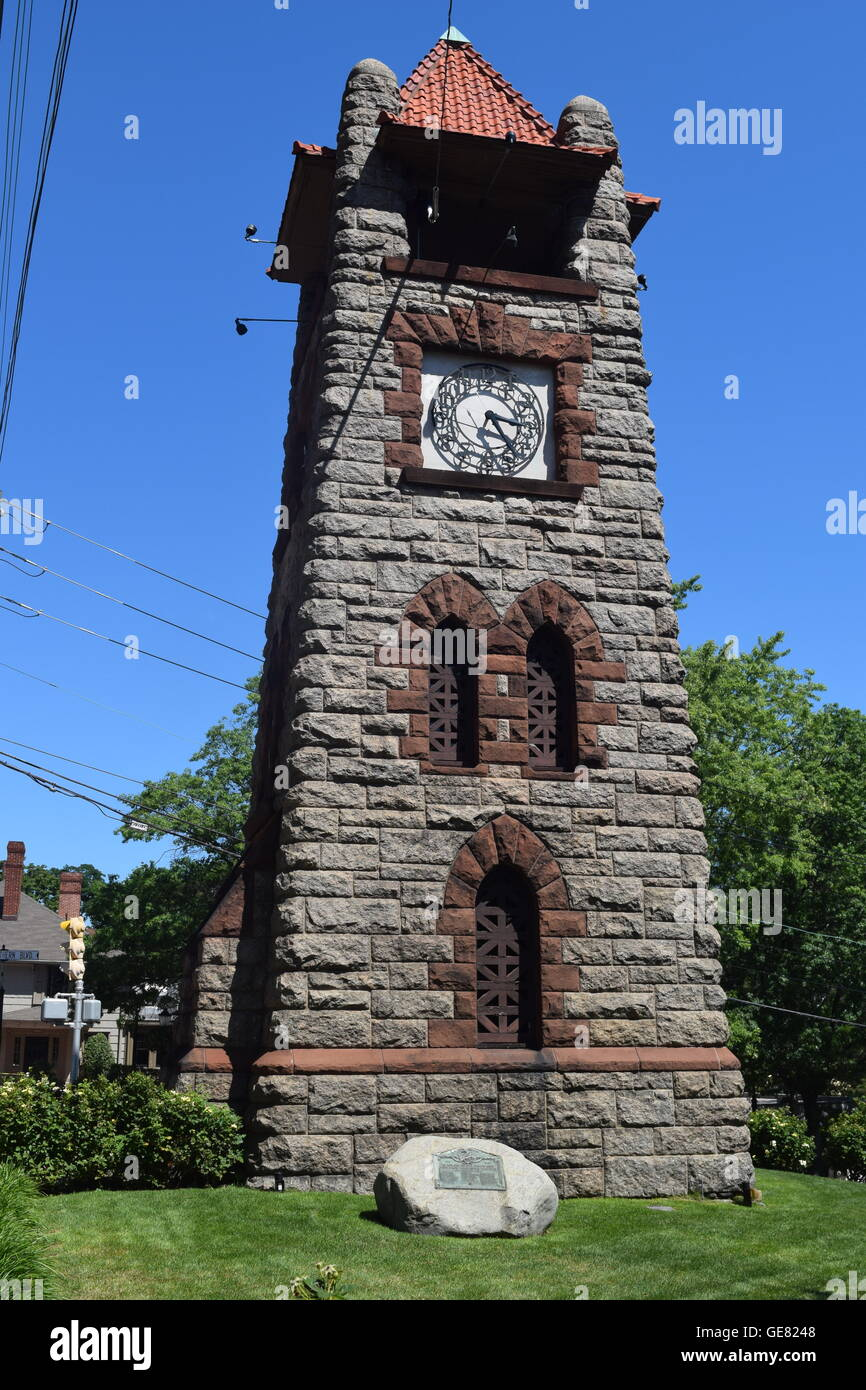 Historic Village Clock Tower - Stock Image