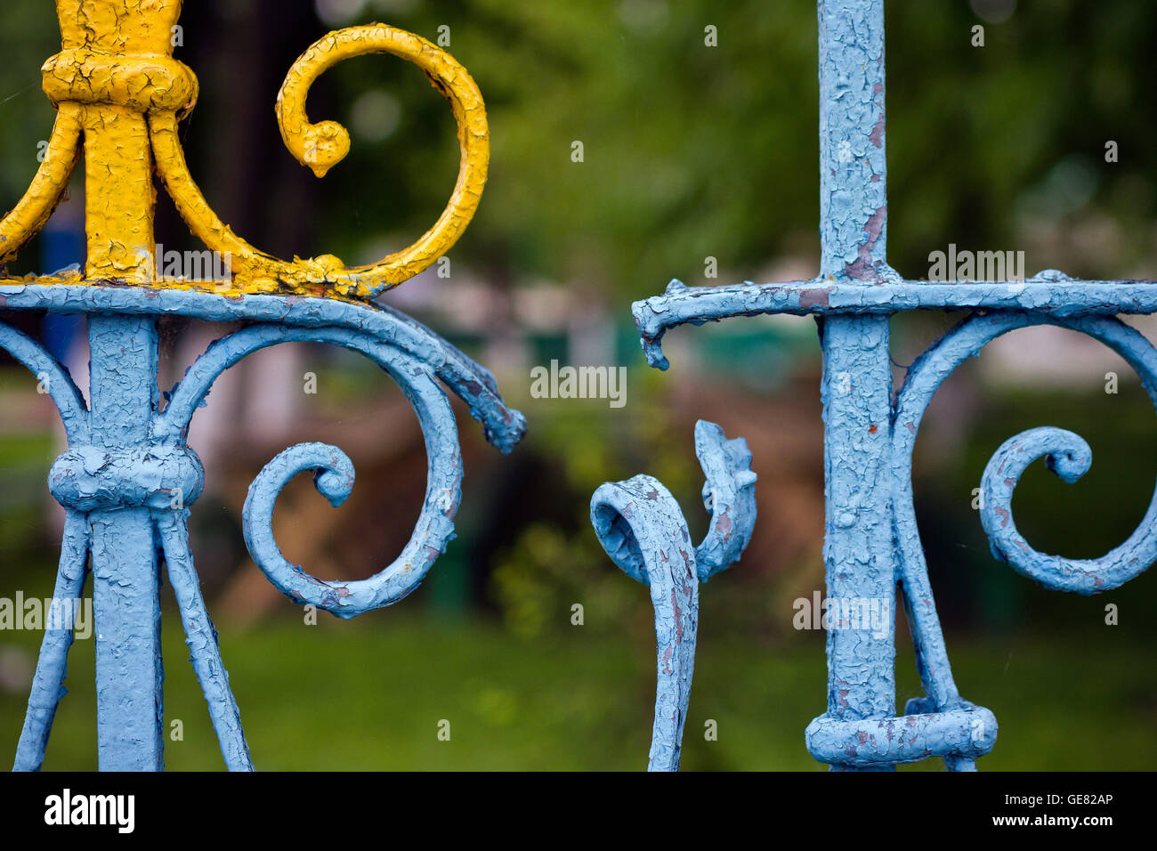 Gates to the church inside the Chernobyl exclusion zone, Ukraine - Stock Image