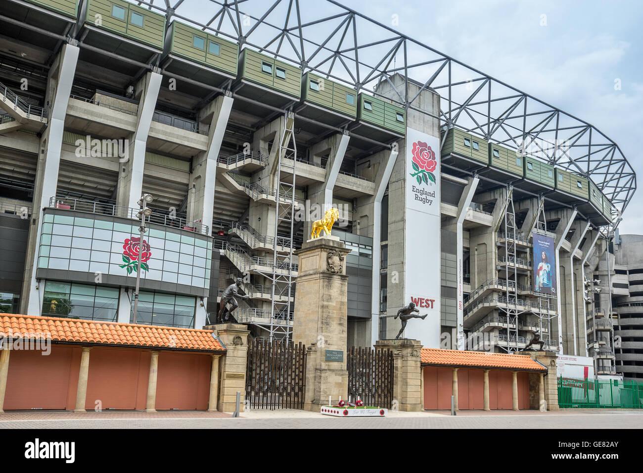 Twickenham stadium in sout west London - Stock Image