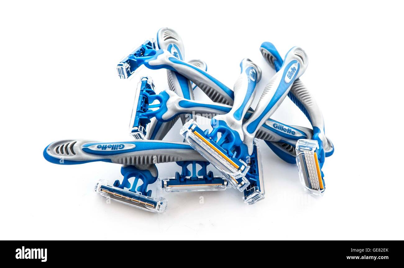 8 Gillette Sensor 3 Disposable Razors on a white background - Stock Image