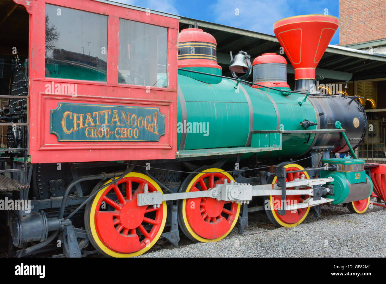 The colorful Chattanooga Choo Choo train engine on the complex grounds of the Chattanooga Choo Choo Hotel in Tennessee - Stock Image