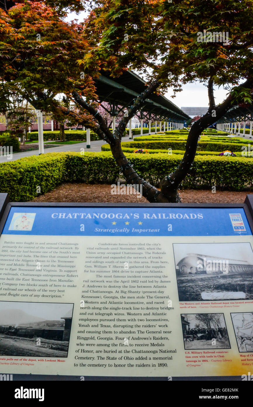Historical Chattanooga's Railroads information sign board on the grounds of the Chattanooga Choo Choo Hotel - Stock Image