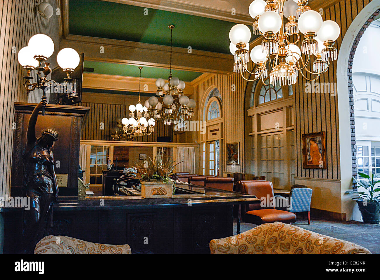 Beautiful interior of the bar in the historic Chattanooga Choo Choo Hotel in TN, named after the famous Glenn Miller - Stock Image