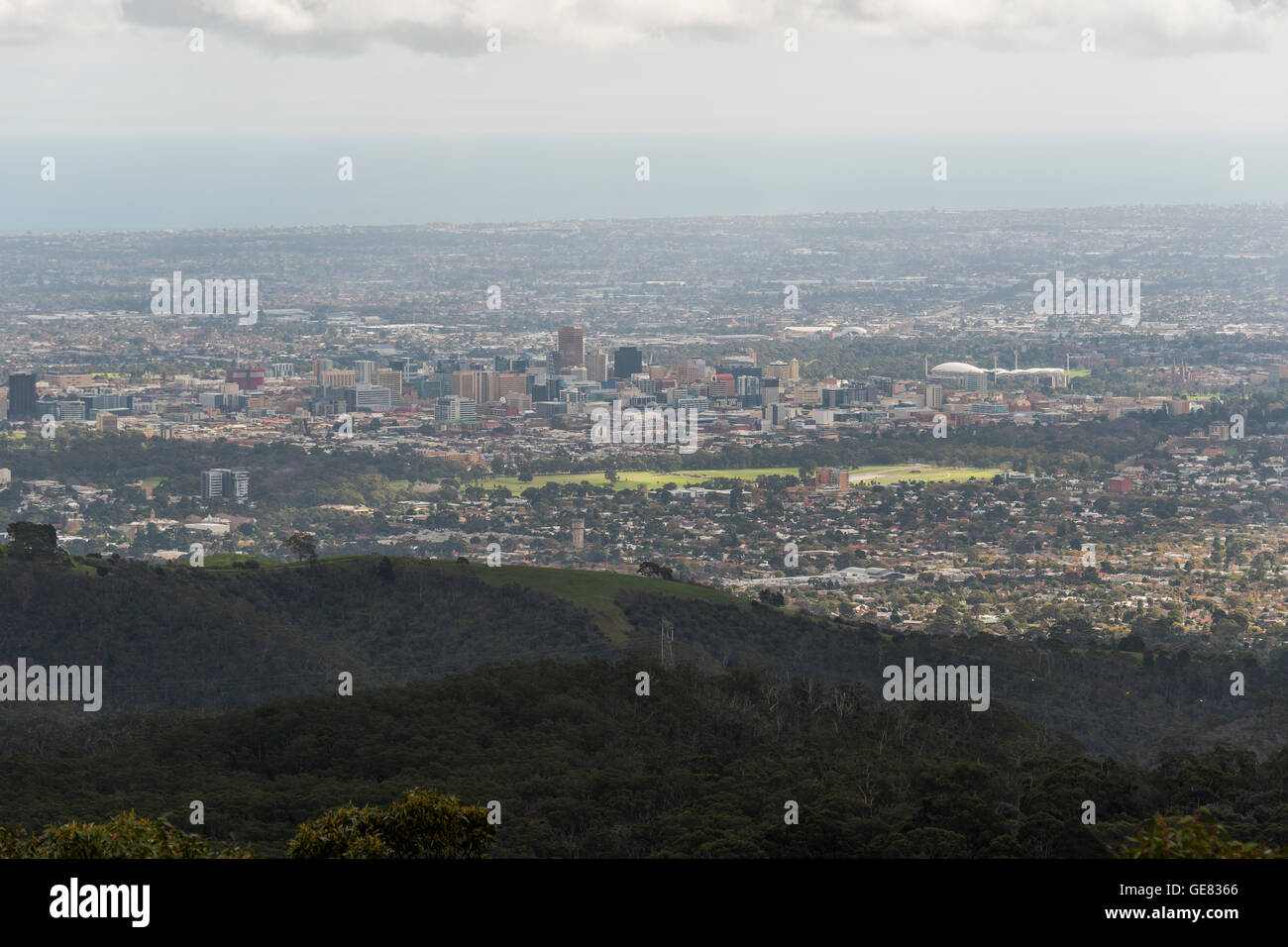 The view of Adelaide from The Summit Restaurant, Cafe and Function Centre. - Stock Image