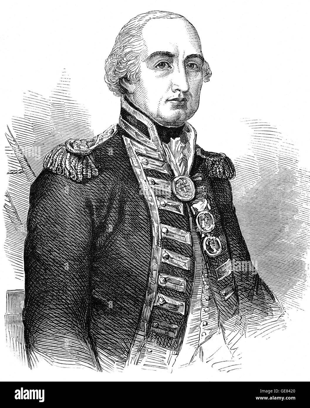 Vice Admiral Cuthbert Collingwood, 1st Baron Collingwood (1748 – 1810) was an admiral of the Royal Navy. He worked Stock Photo