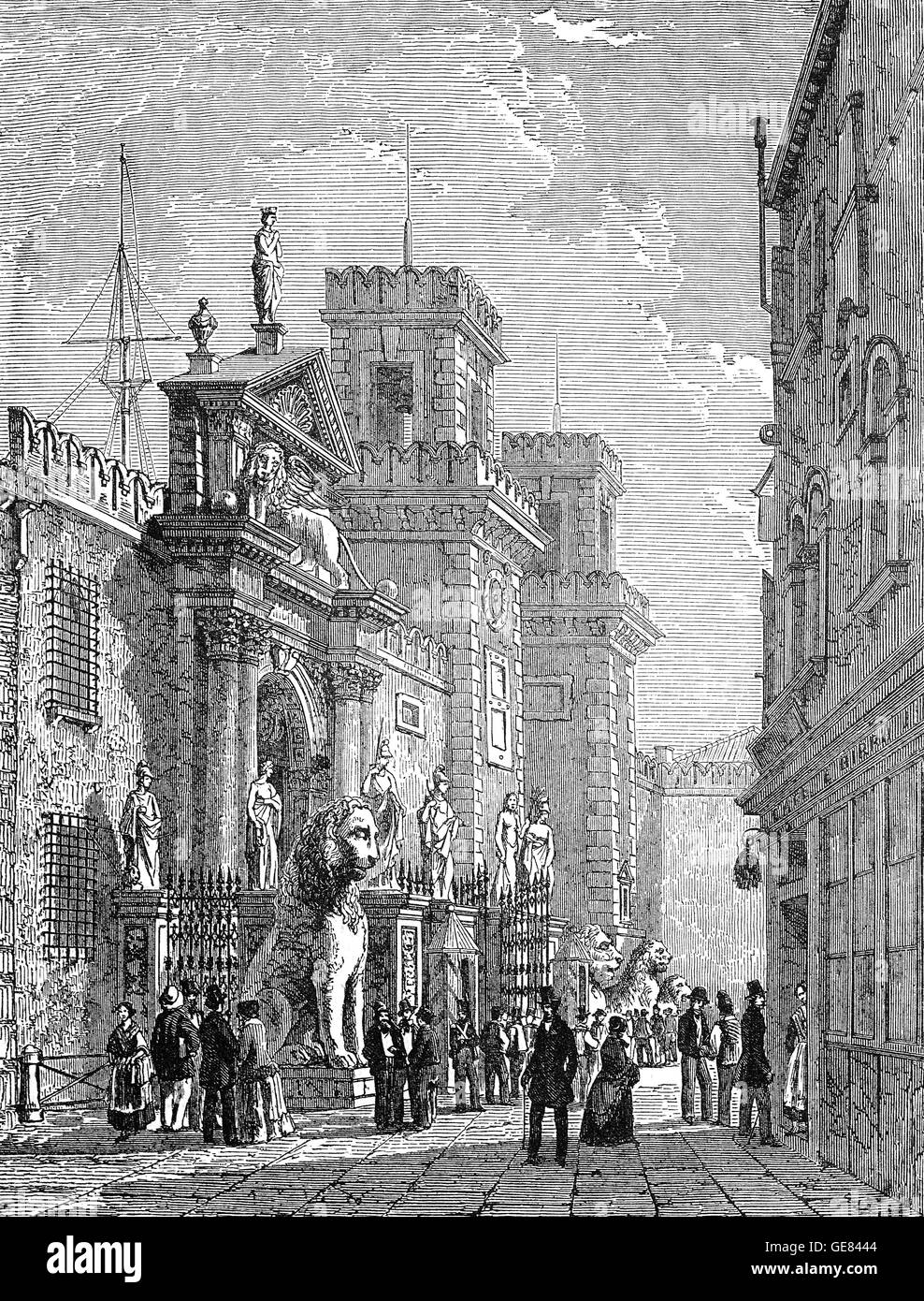 19th Century view of the entrance to the Venetian Arsenal, a complex of former shipyards and armories clustered - Stock Image