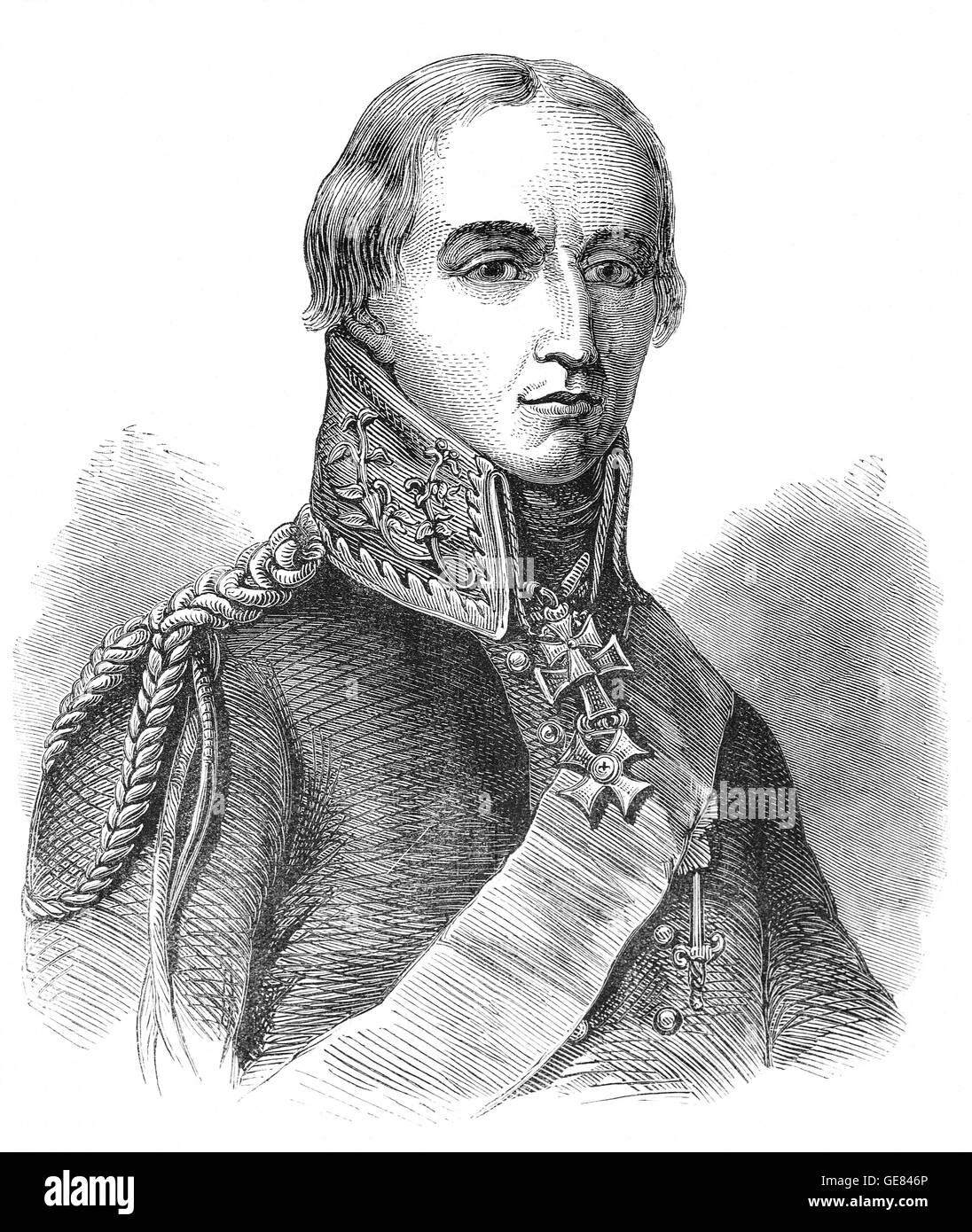 Friedrich Wilhelm Freiherr, or Marshal Bulow (1755 – 1816) was a Prussian general who supported the British during - Stock Image