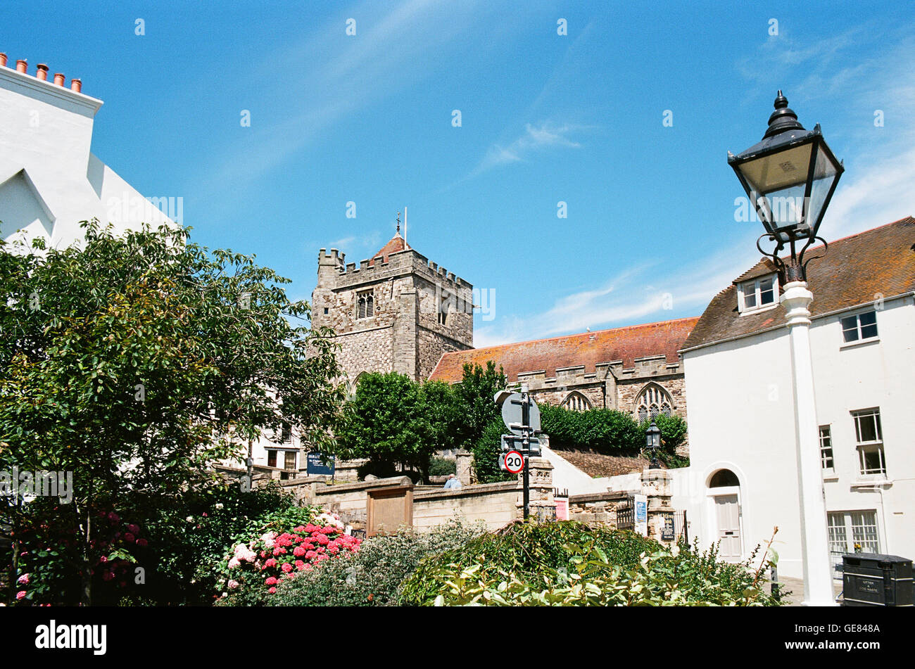 Hastings Old Town, East Sussex, UK, with St Clements church, in summertime - Stock Image