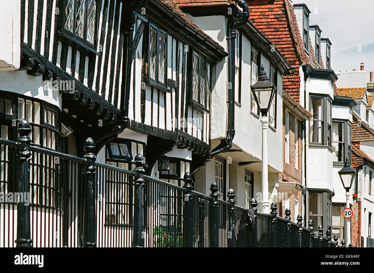 Tudor Timber-framed houses and Georgian buildings in Hastings Old Town, East Sussex, UK - Stock Image