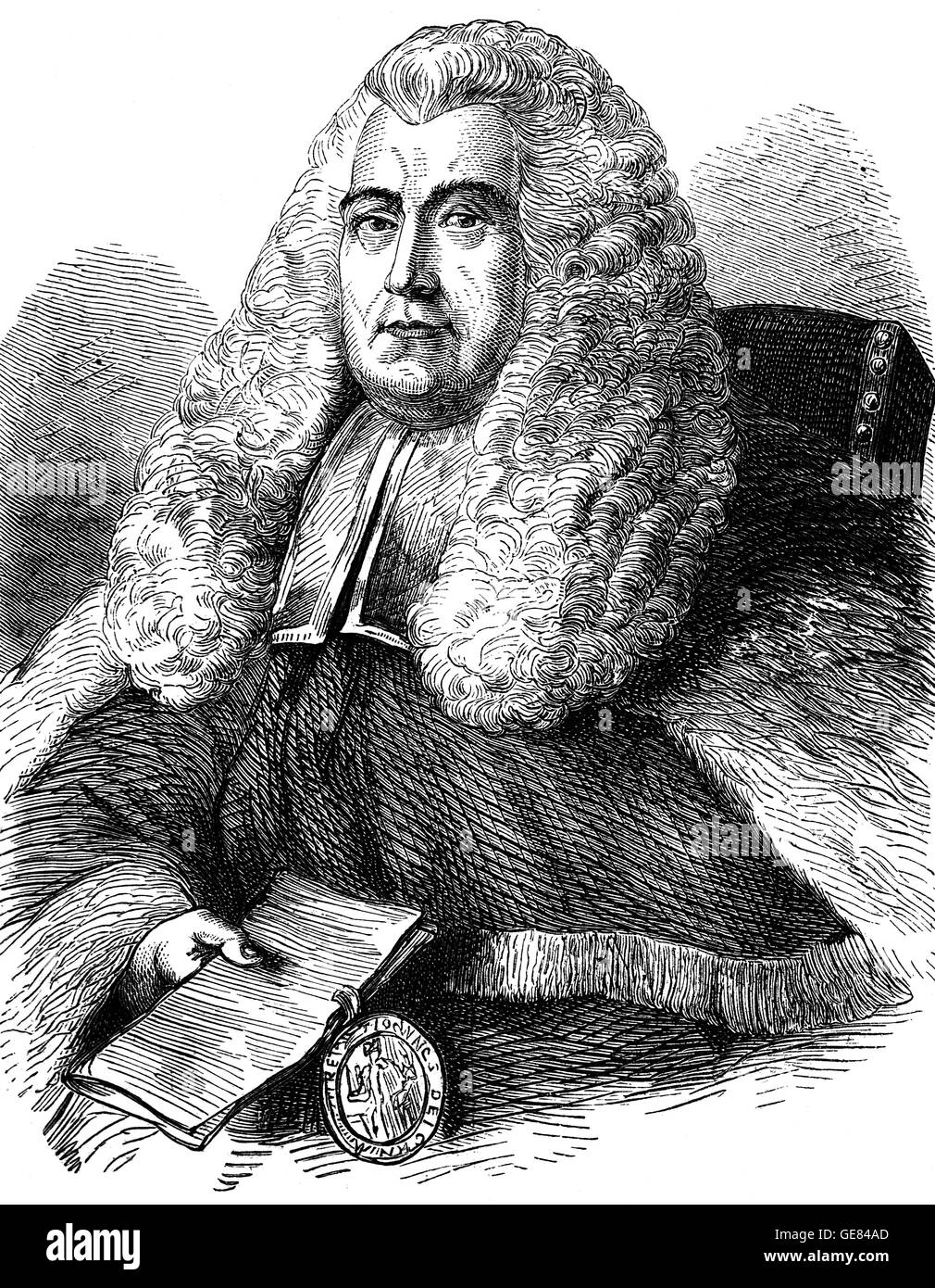 Sir William Blackstone (1723 – 1780) was an English jurist, judge and Tory politician of the eighteenth century. - Stock Image