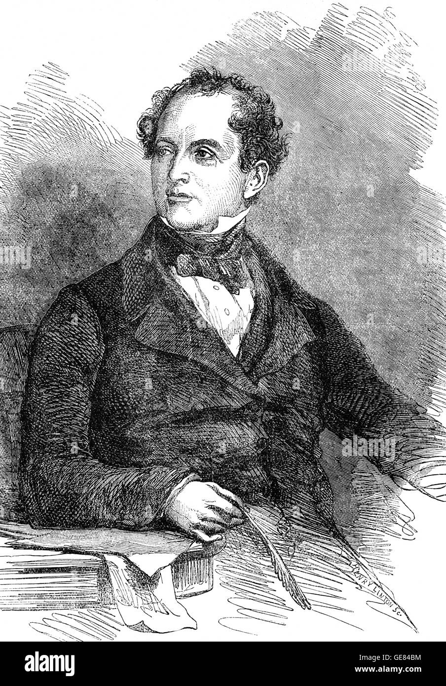 Thomas Moore (1779 – 1852) was an Irish poet, singer, songwriter, and entertainer,  best remembered for the lyrics - Stock Image
