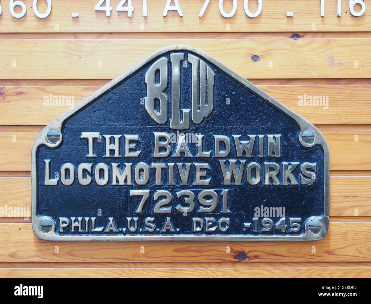 Plaque-de-constructeur The Baldwin Locomotive Works 72391, Phila USA Dec 1945 - Stock Image