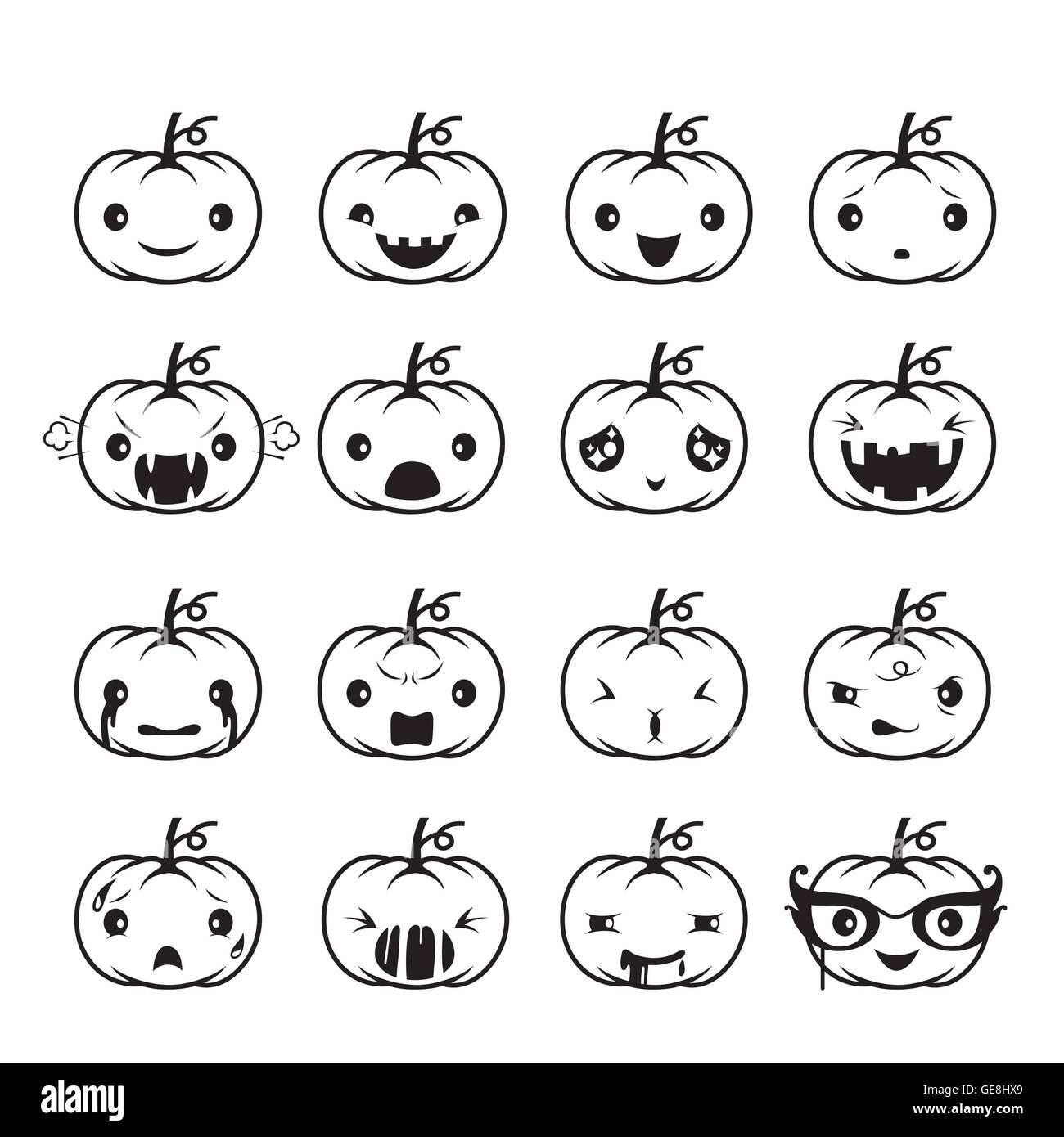 Pumpkin Emoticons Set, Holiday, Mystery, emoji, facial expression, feeling, mood, personality, symbol, October - Stock Vector