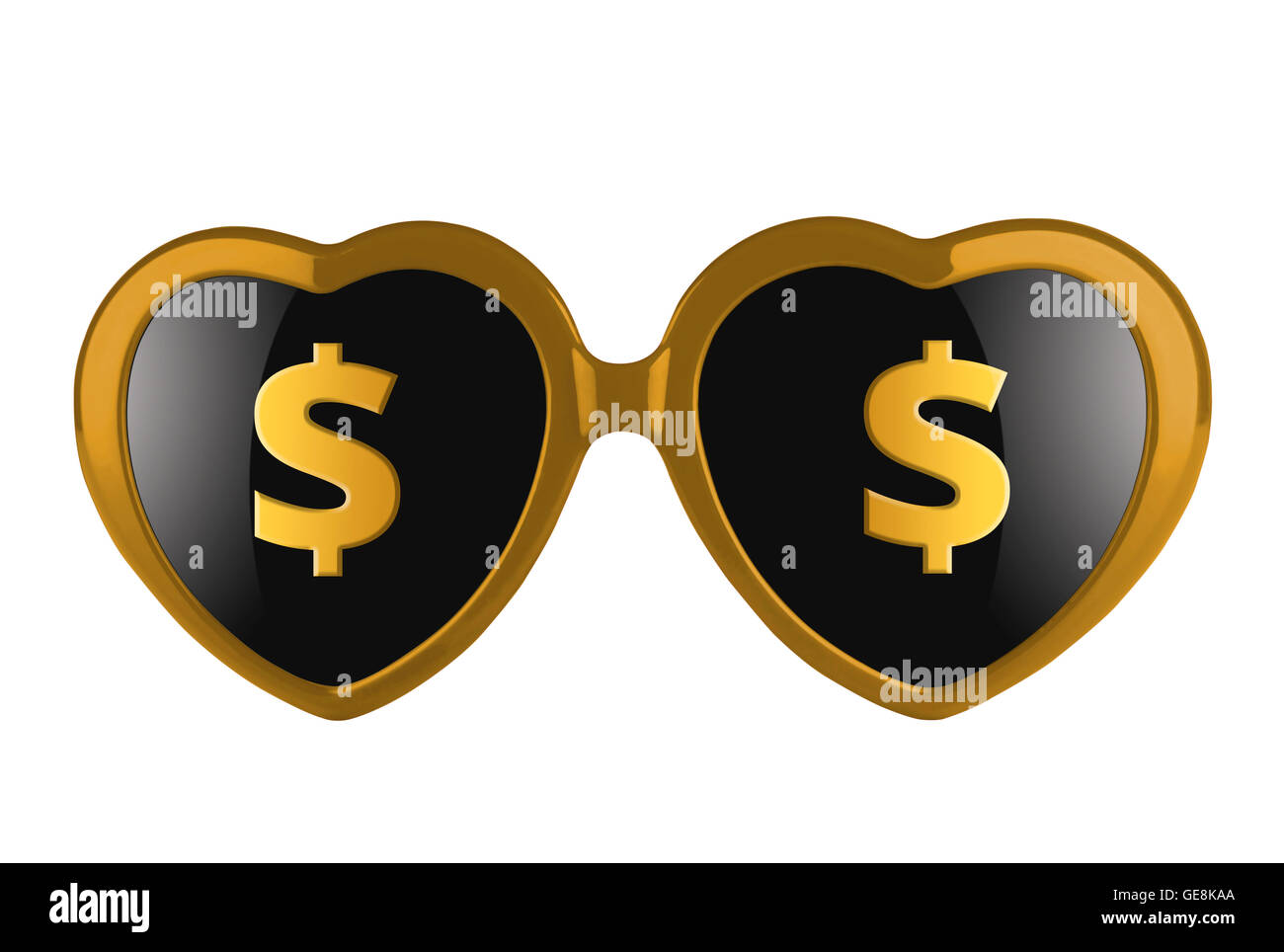 A pair of golden heart shaped sun glasses with solar signs on lenses isolated Stock Photo