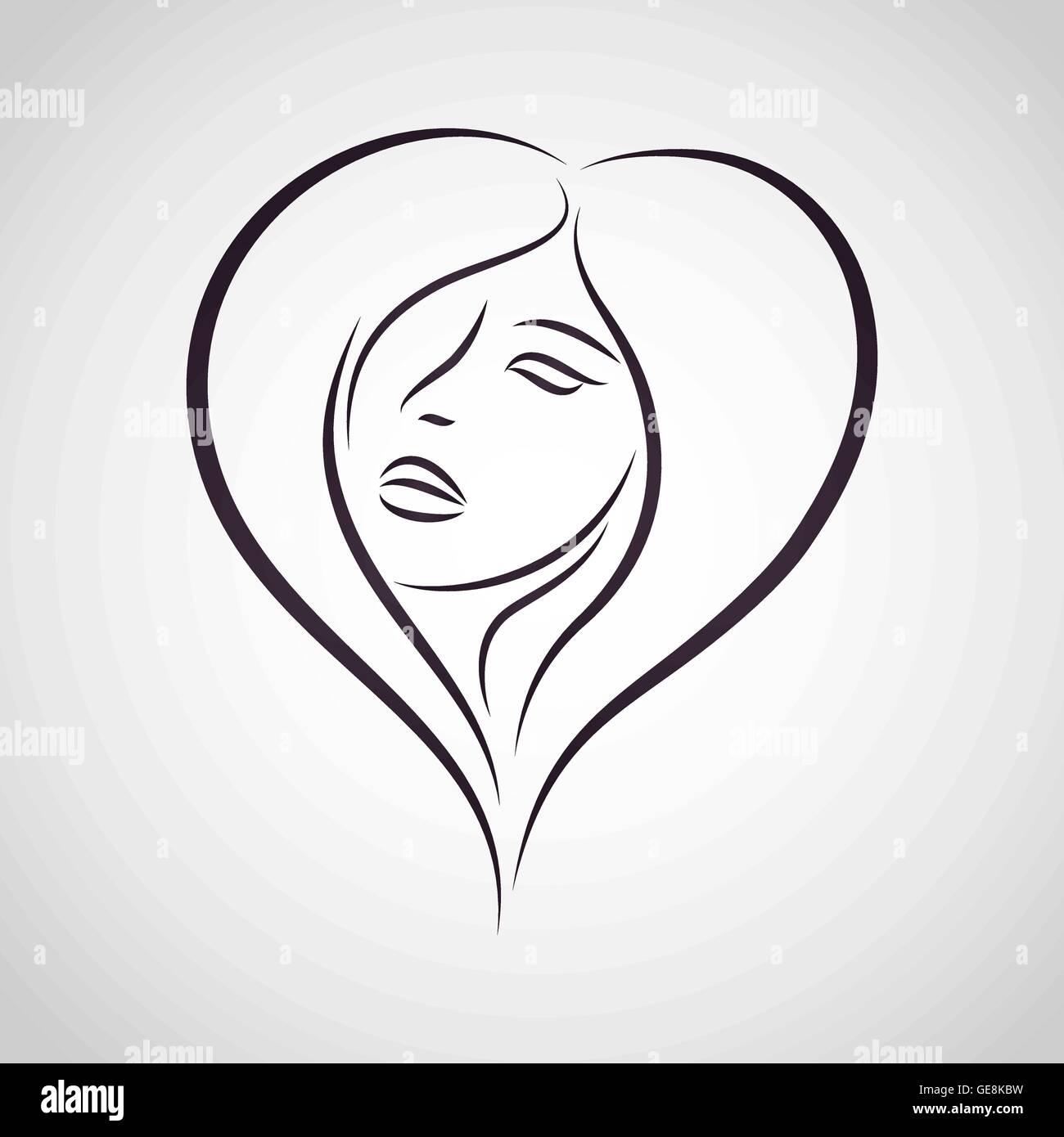 Woman Vector Logo Design Template Girl Silhouette Cosmetics Stock