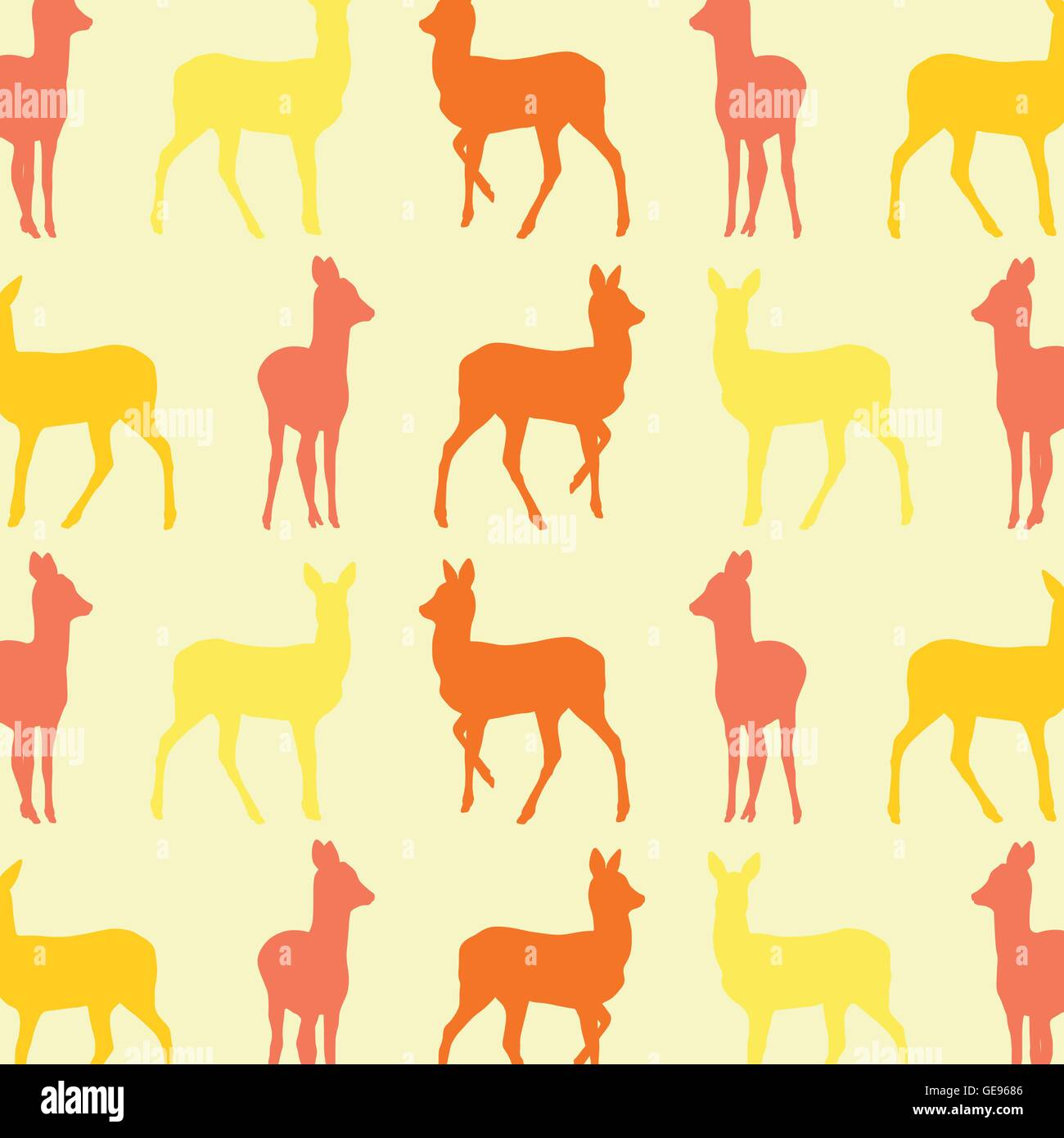 Doe Deer Animal Seamless Pattern Colorful Vector Wallpaper For Kid Background Concept